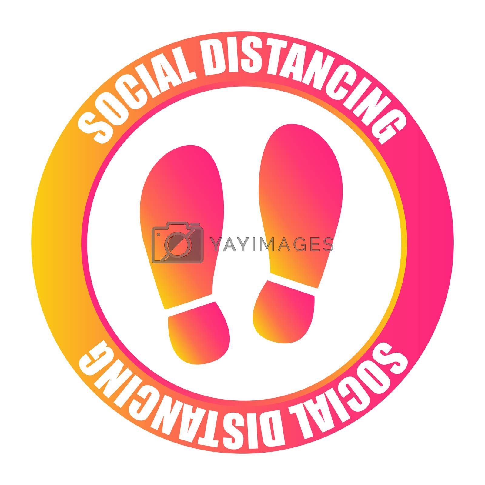 Footprint sign with text social distancing. Protection from Covid-19. Social distancing for print floor. Coronavirus outbreak. Social distancing concept. by fotoscool