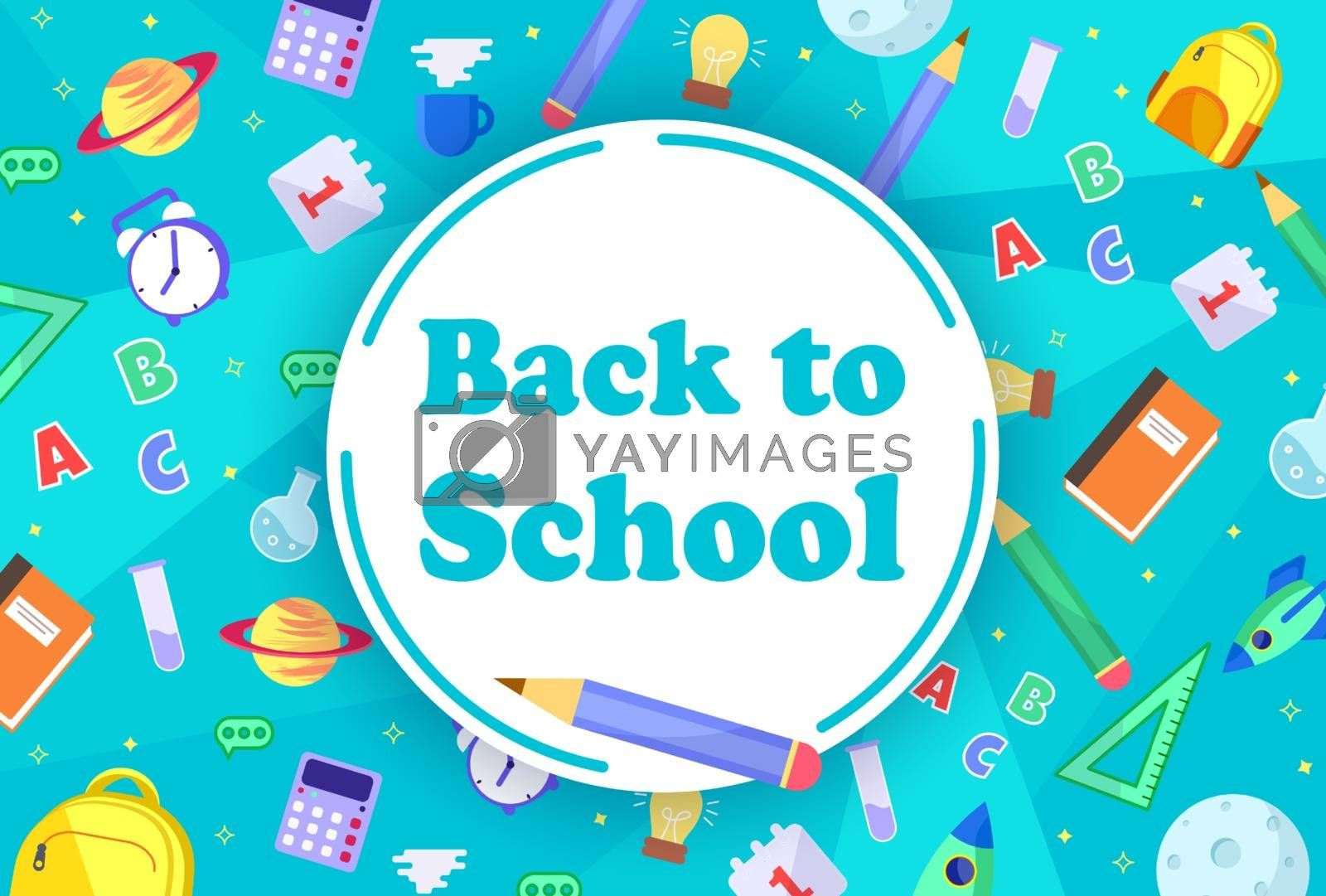 back to school sale banner, poster, flat design colorful, vector.