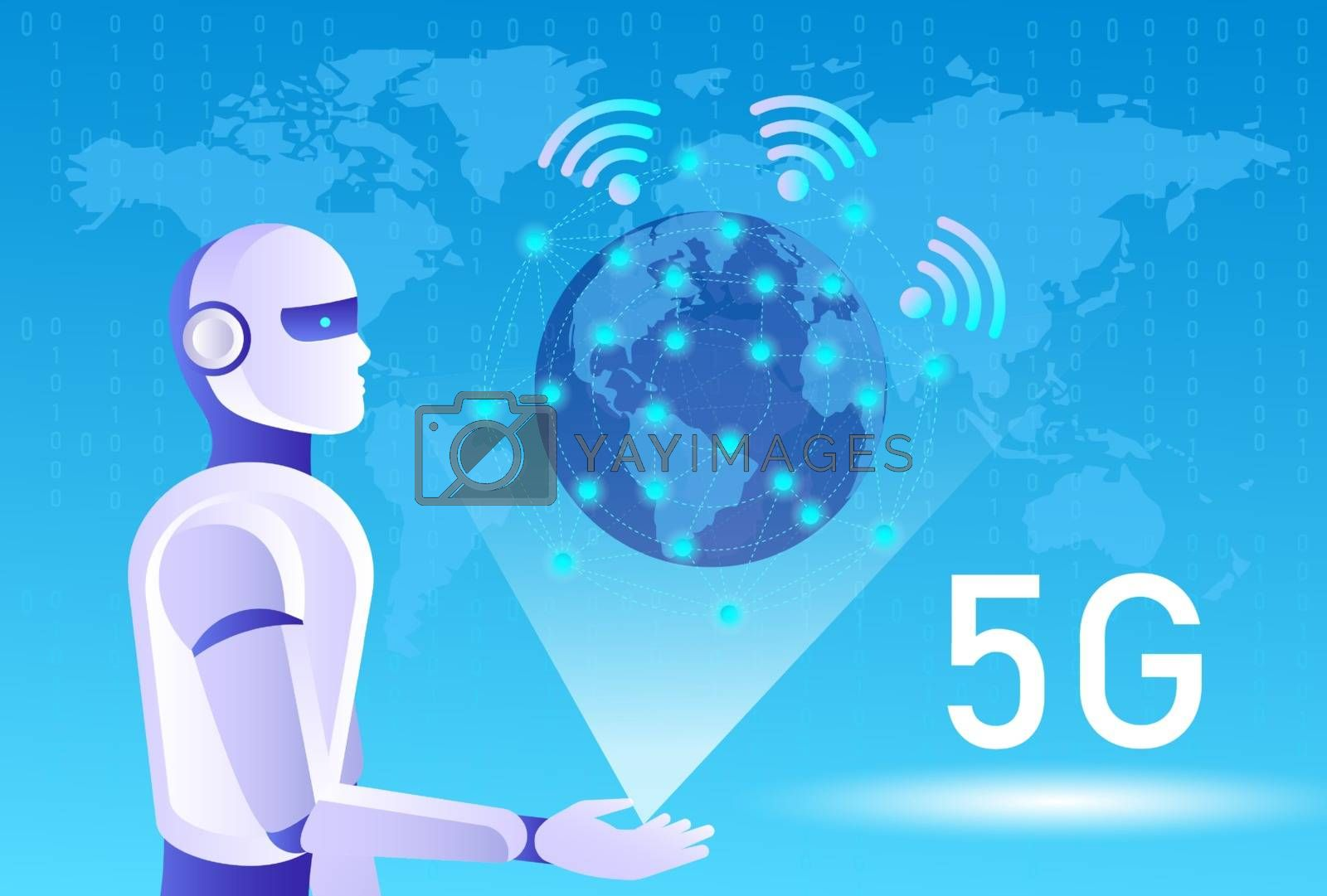 5G network wireless systems and internet of things, Smart city and communication network. 5G wireless mobile internet wifi connection. Robot touching digital interface. Vector illustration