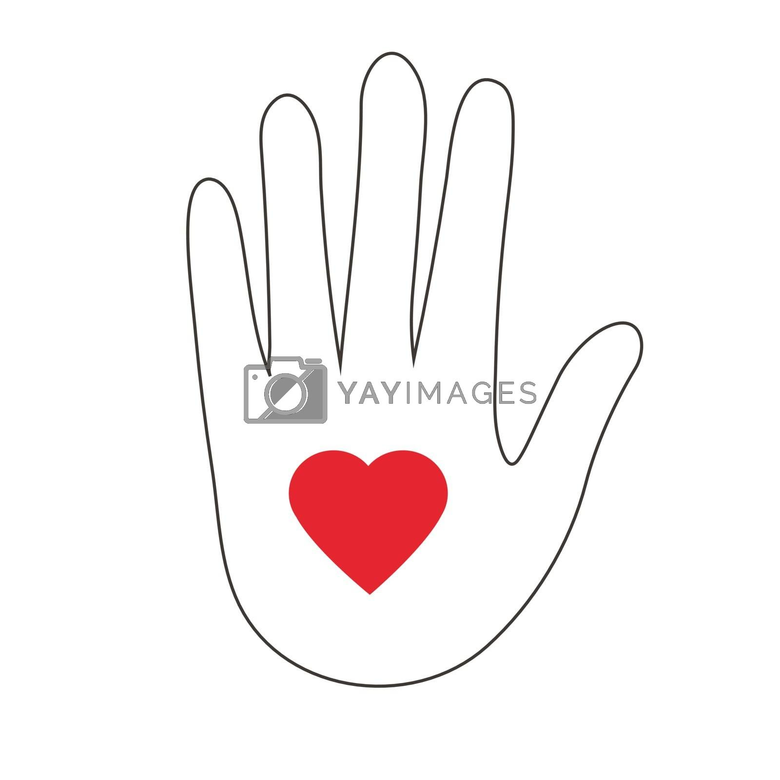 Abstract vector logo heart in a hand. Stylized line icon.