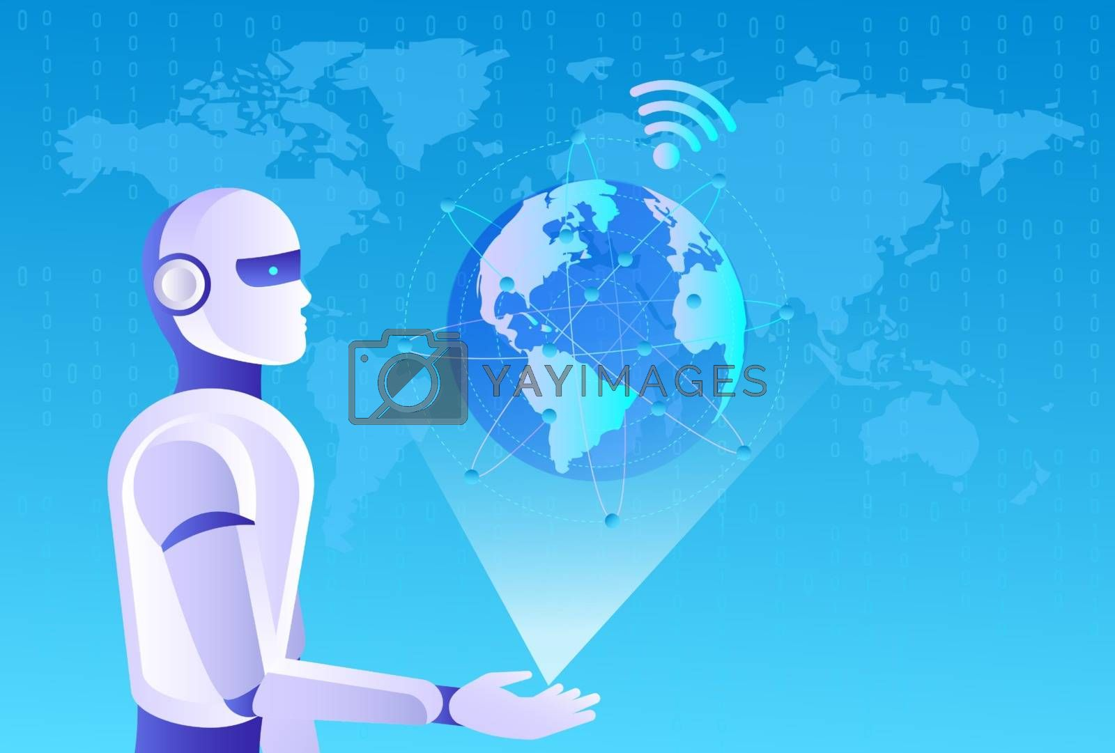 Robots man and woman with artificial intelligence working with virtual interface in cybernetic reality. Machine, learning. AI control global business process