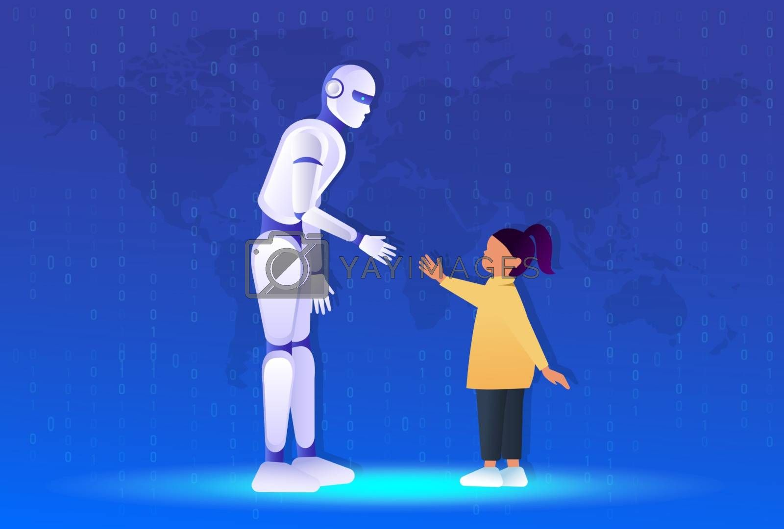 Friendship of a child and a robot. Little girl pulls a hand to the robot. Android, cyborg, humanoid robot, friendship concept, flat cartoon vector illustration. Human girl and robot walking together.