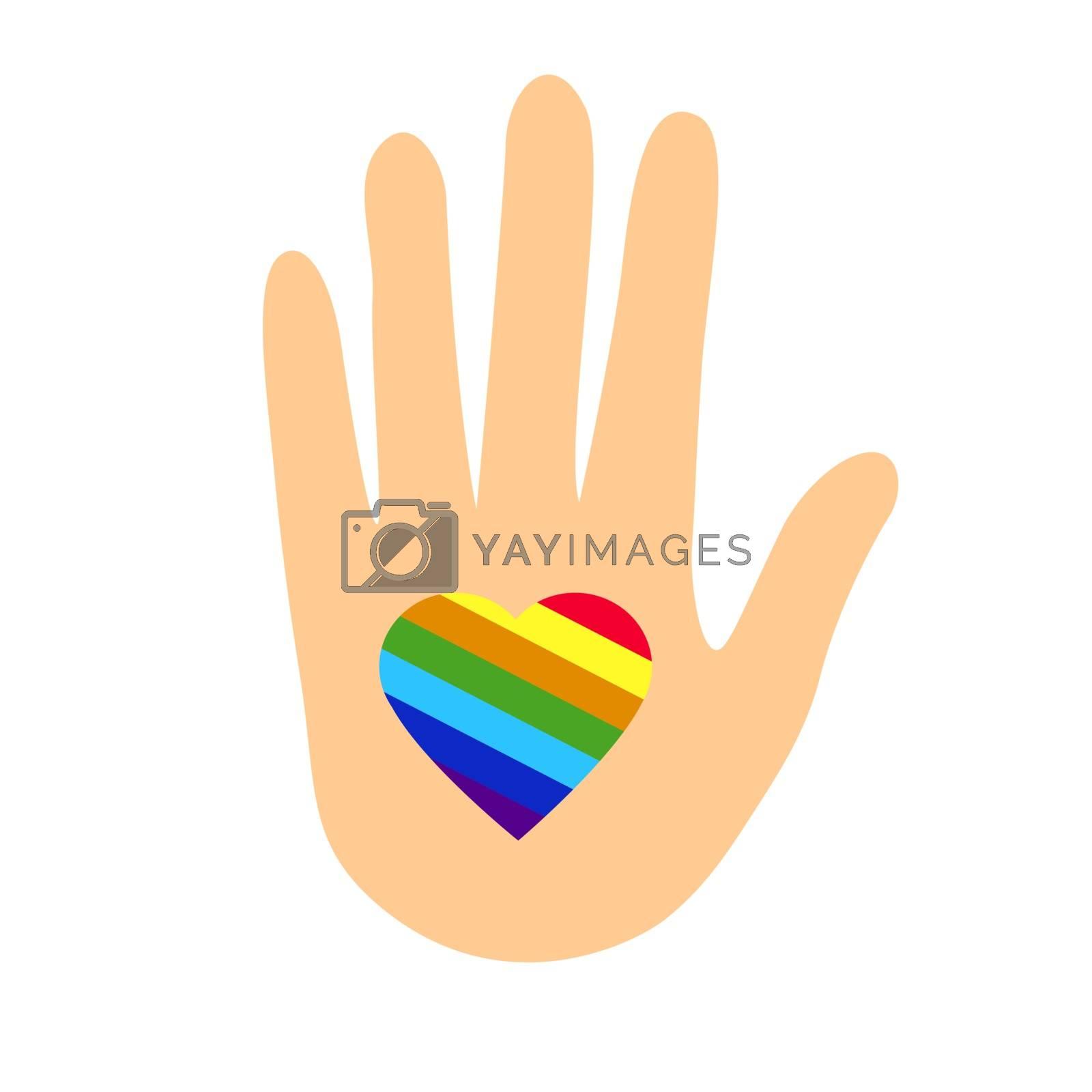Hand with heart rainbow vector illustration .Lgbt flag rainbow heart shape.
