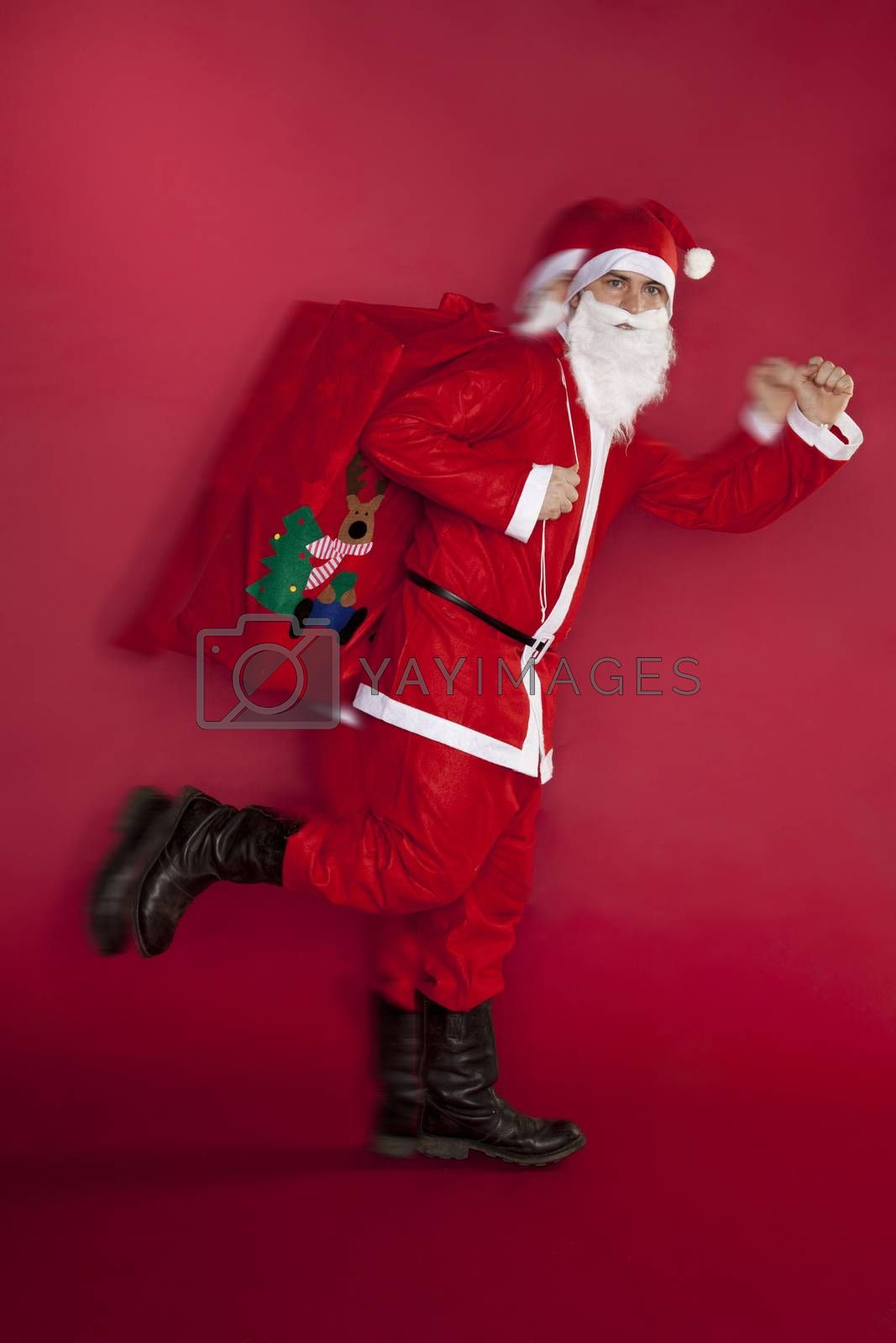 Santa Claus is in a hurry to deliver gifts