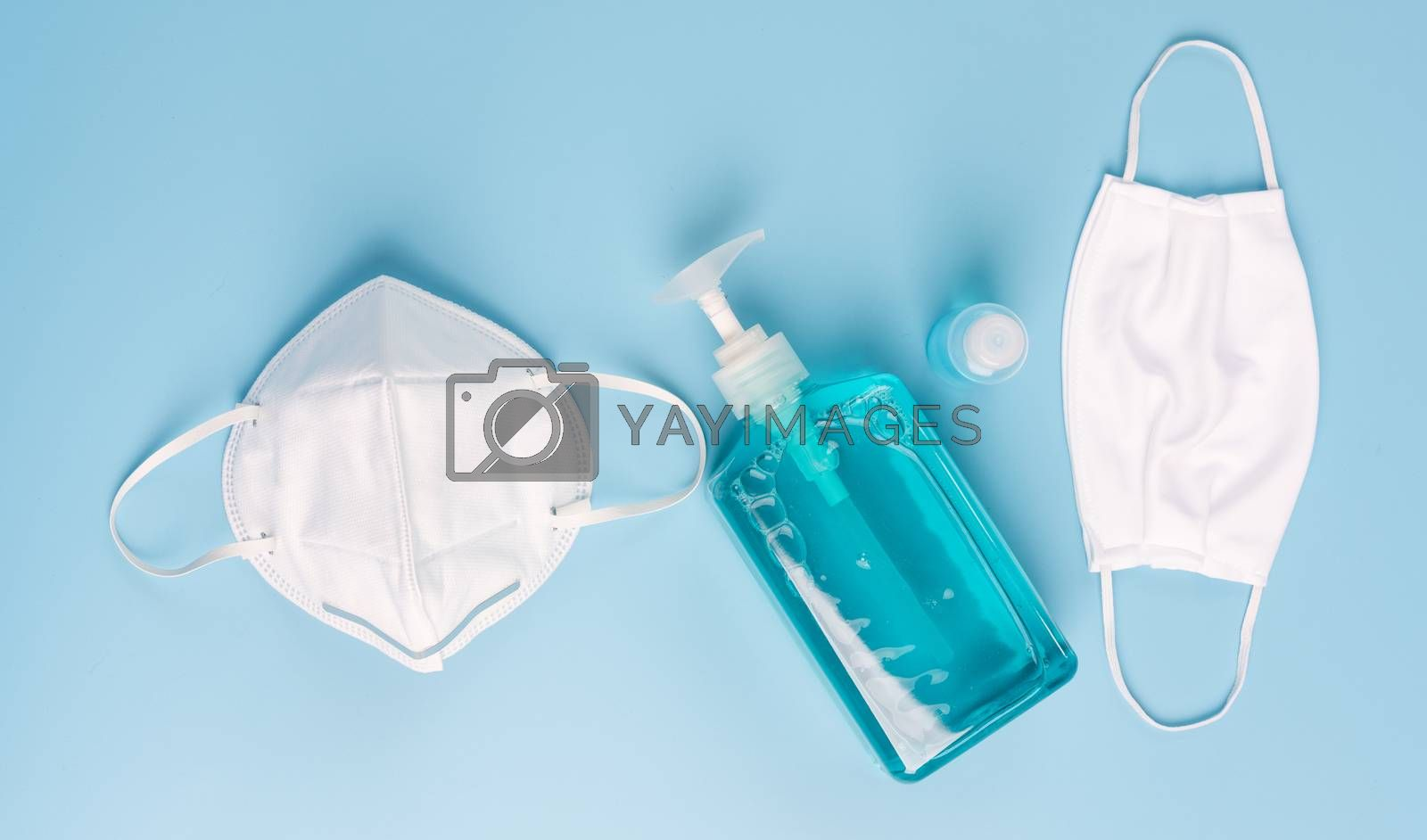 White mask for wearing germ protection  and gel alcohol or hand  by foto2rich