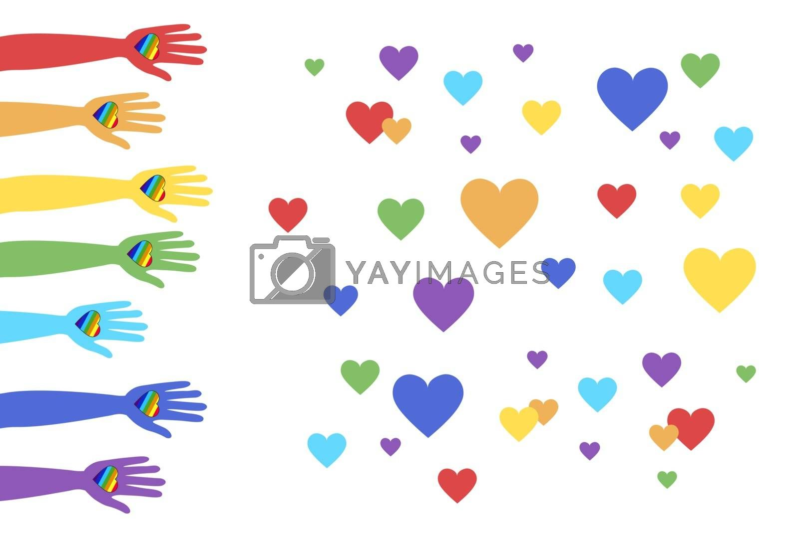 Lgbt support, fight for gay and lesbian rights, helping hands and hearts, rainbow colors. Modern flat vector illustration stylish design element.