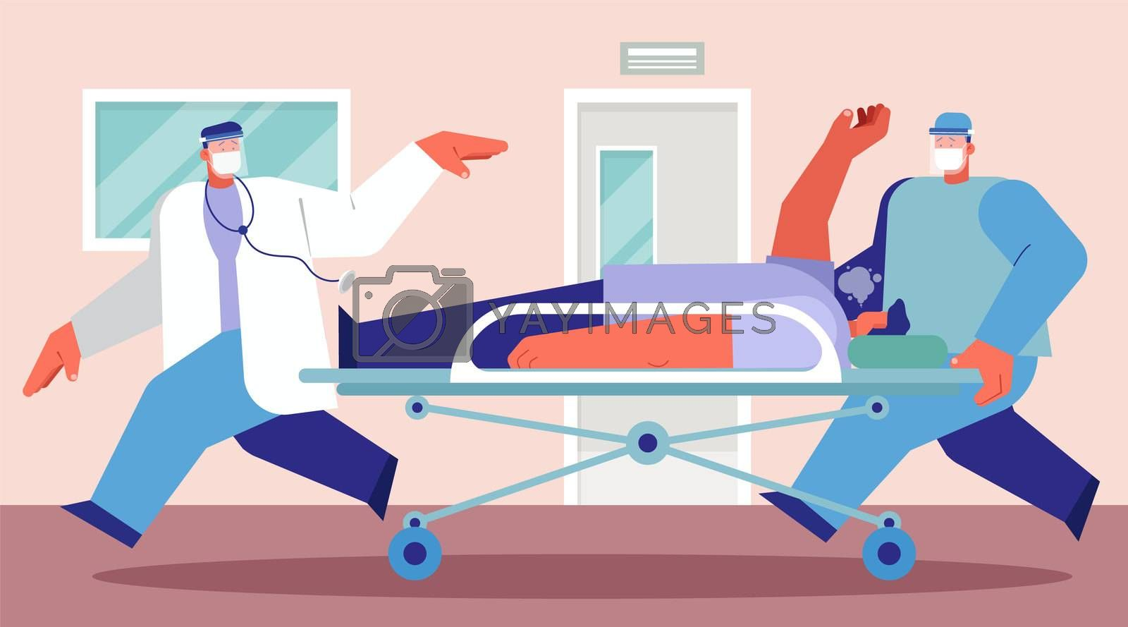 Emergency case for Coronavirus critical patient on stretcher concept, doctor with medical team riding bed with critical pneumonia patient to emergency room with extra treatment, flat vector design.
