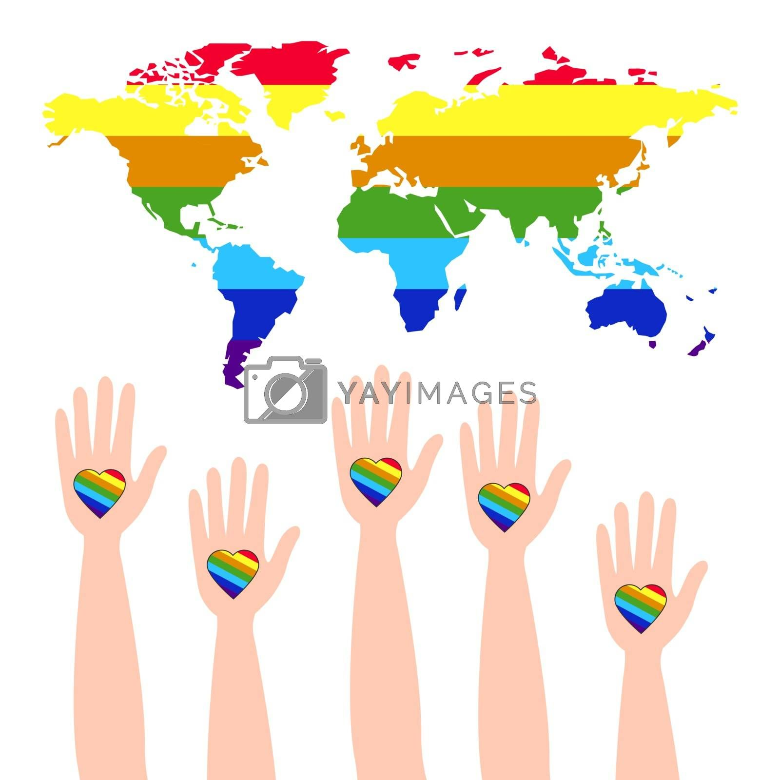 Lgbt support, fight for gay and lesbian rights, helping hands and hearts, rainbow colors. Modern flat vector illustration stylish design element