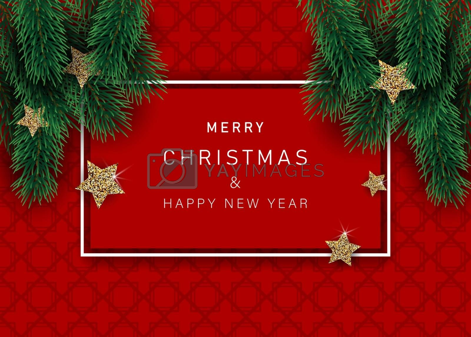 Christmas banners with decorated stars with branches. With snow frames on a red background. Festive header design for your website.