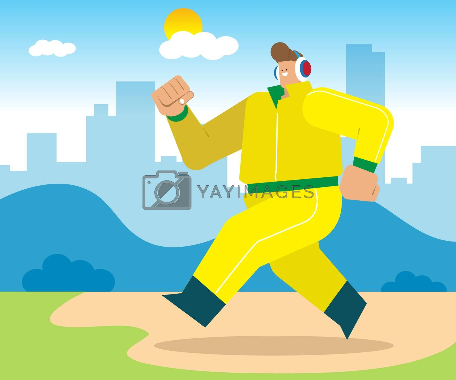 The young man went out to run in the morning For good health, in the morning the fresh air and vitamins from the sun.