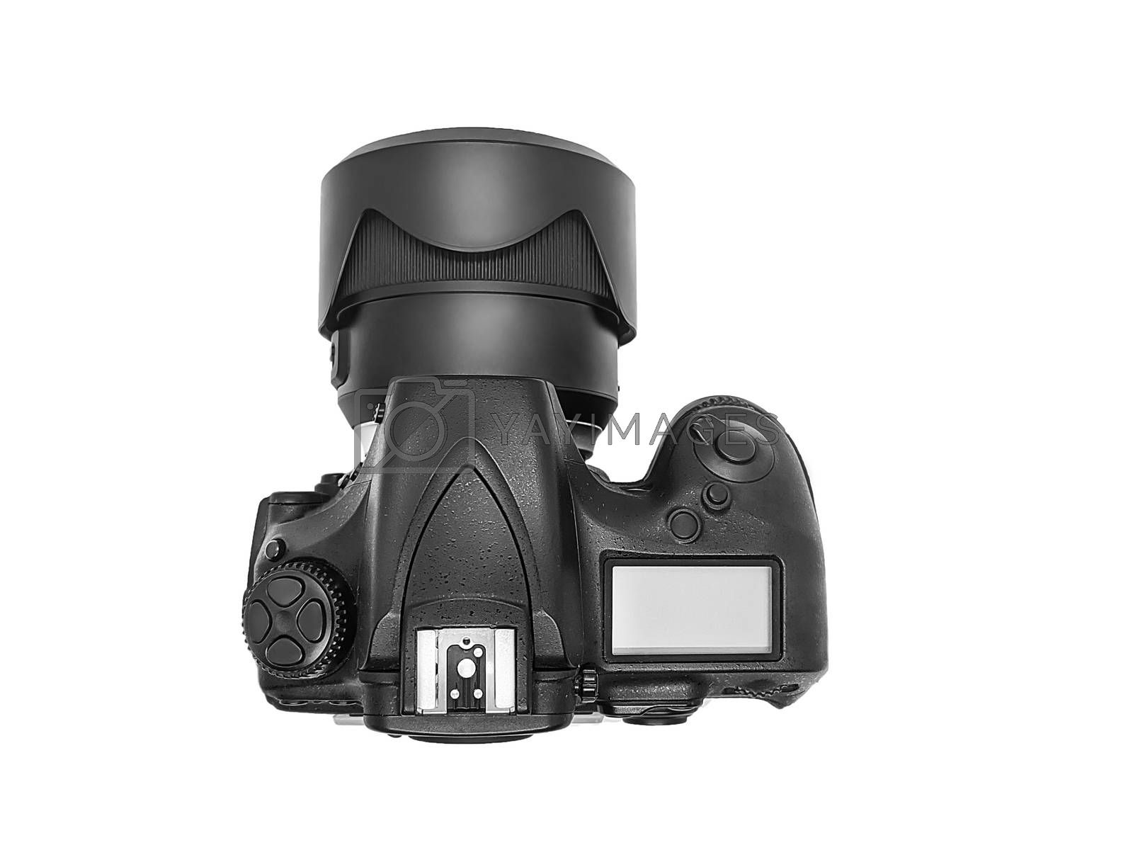 professional digital photo camera with huge wide angle lens isolated on white