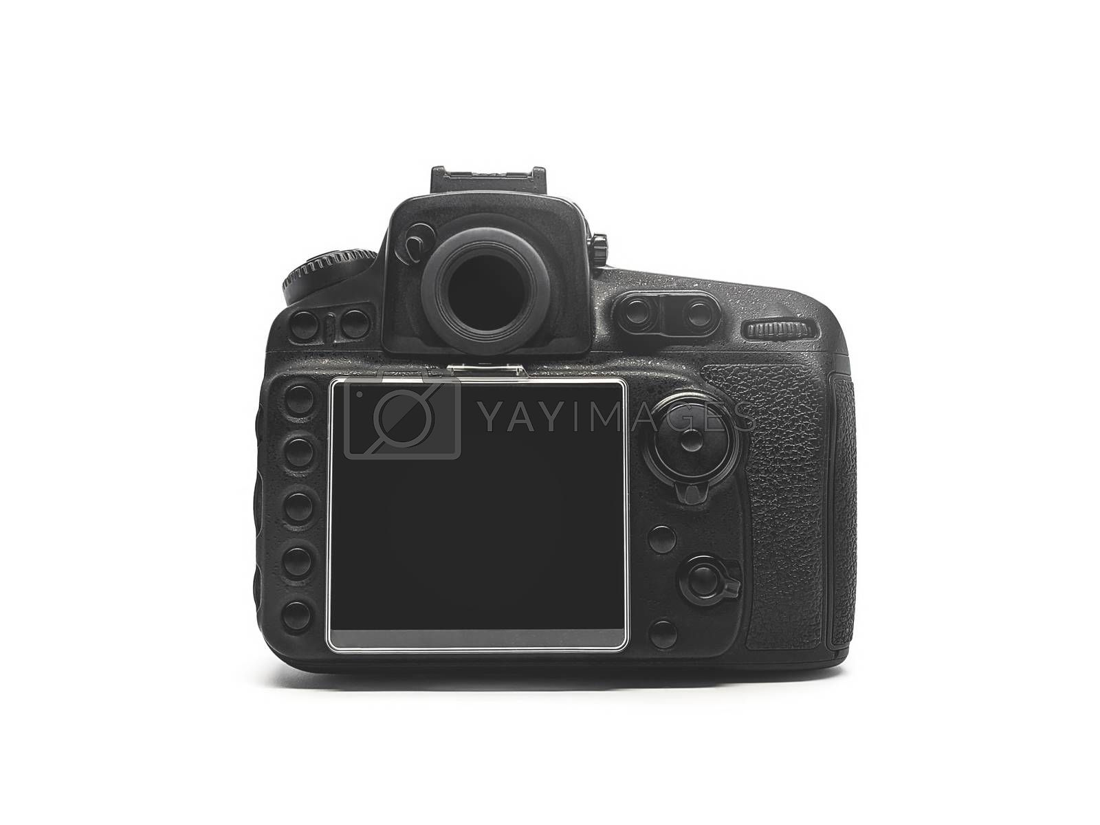 Rear view of a black digital camera on a white background.