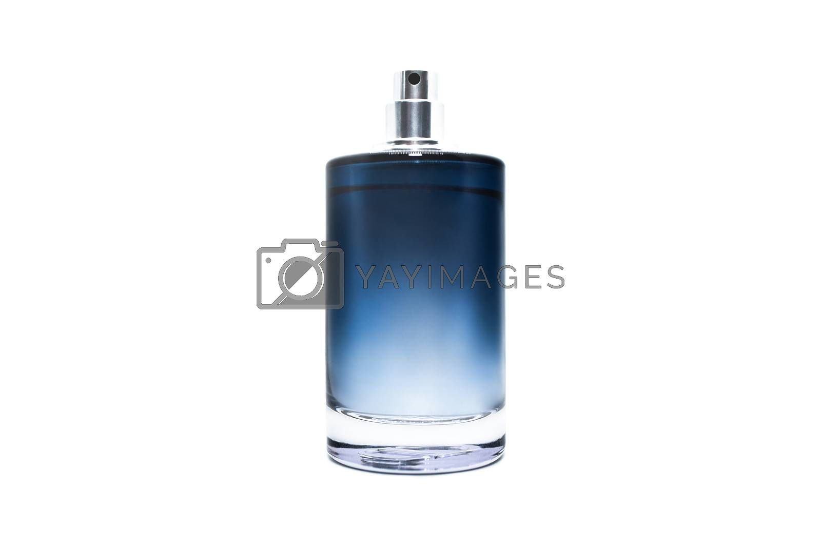 Perfume bottle full of blue liquid isolated on white background. Fragrance for man