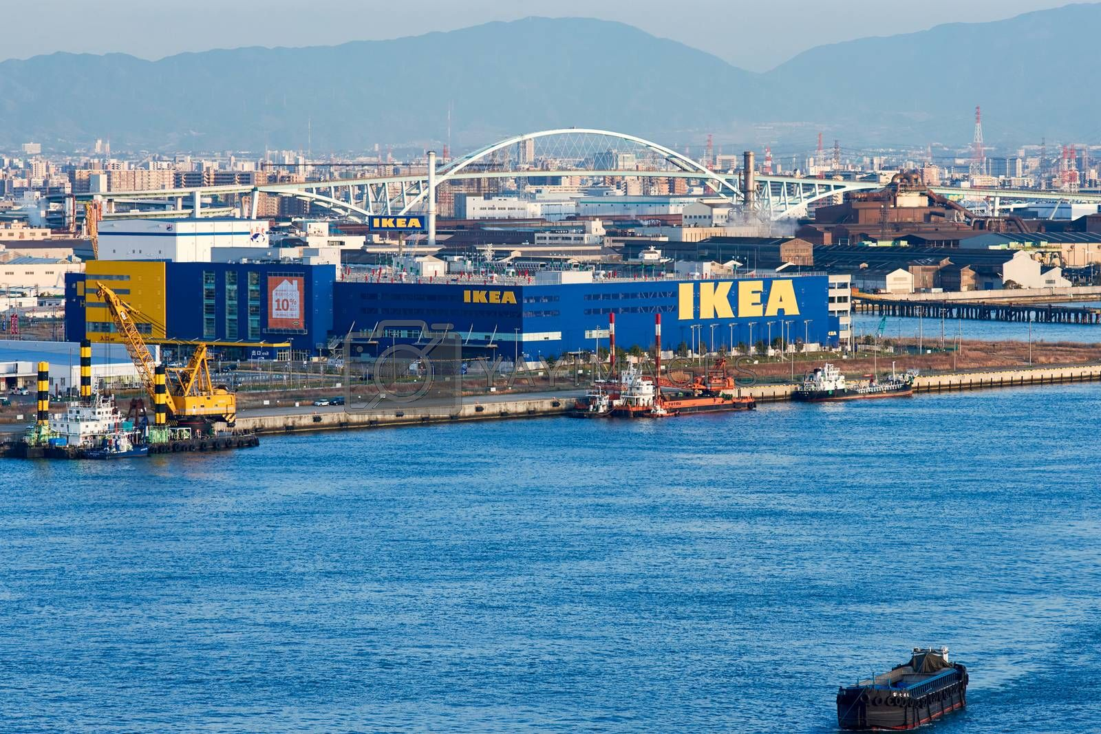 Osaka / Japan - March 23rd 2018: Huge IKEA Tsuruhama store in Osaka port, Osaka, Japan