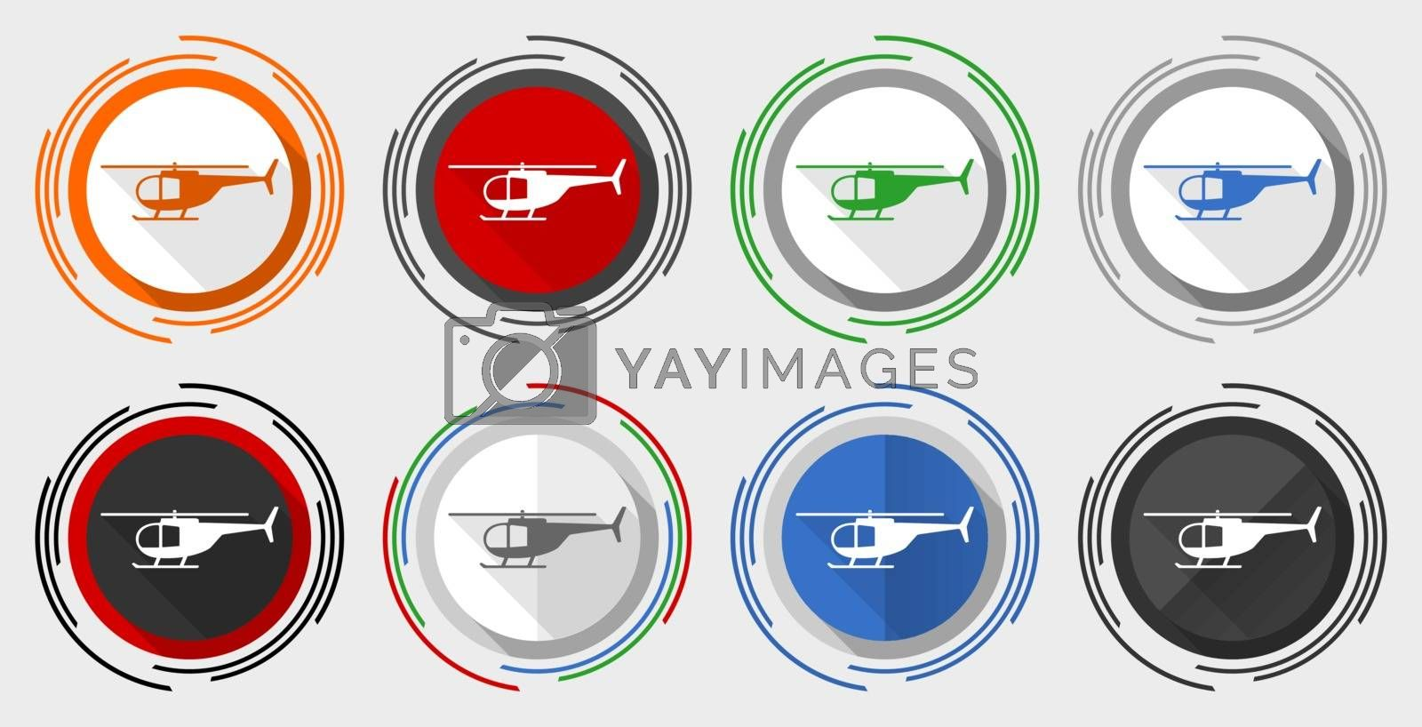 Helicopter, transport concep modern design flat graphic in 8 options for web design and mobile applications