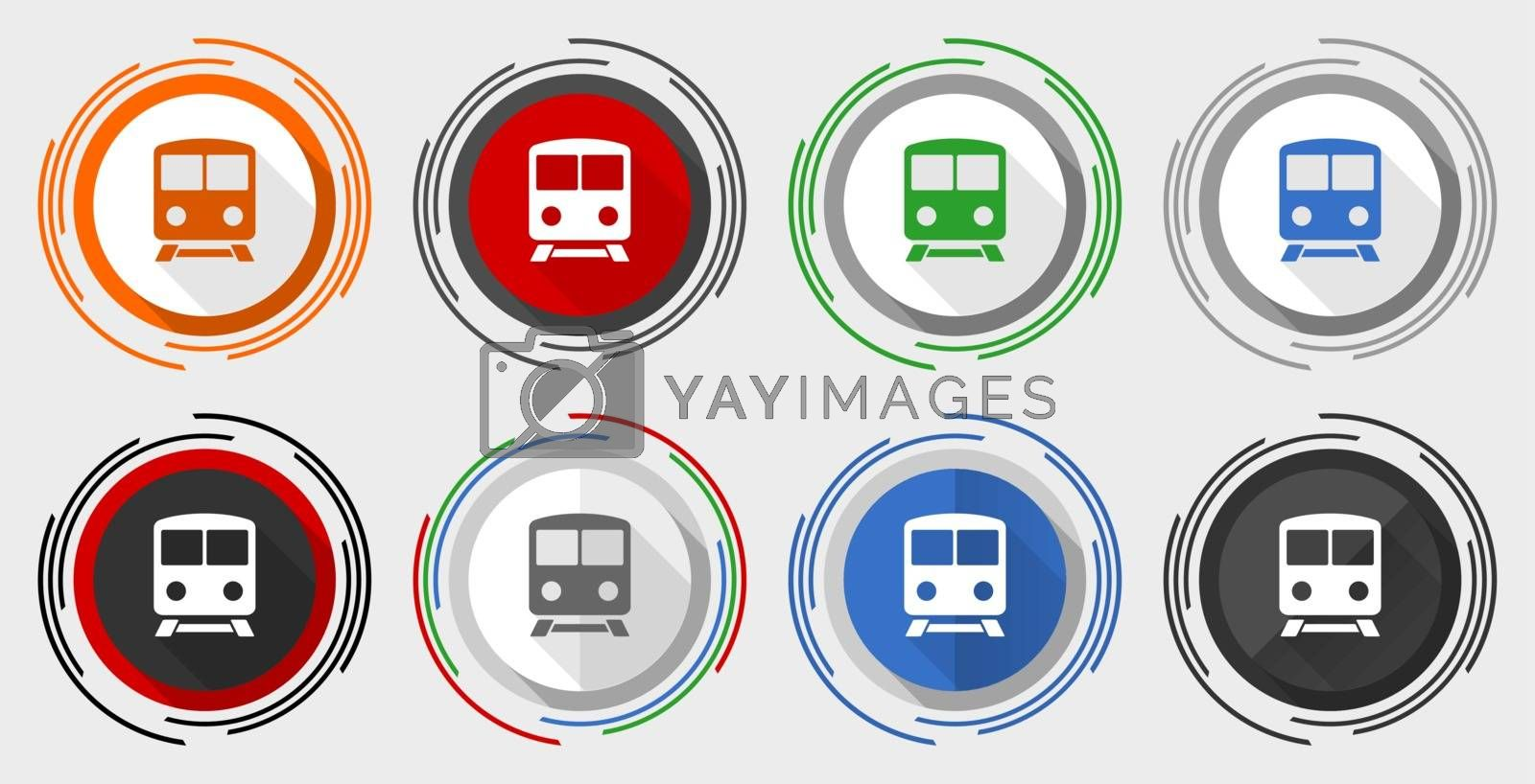 Railway vector icon set, train, subway, transportation modern design flat graphic in 8 options for web design and mobile applications