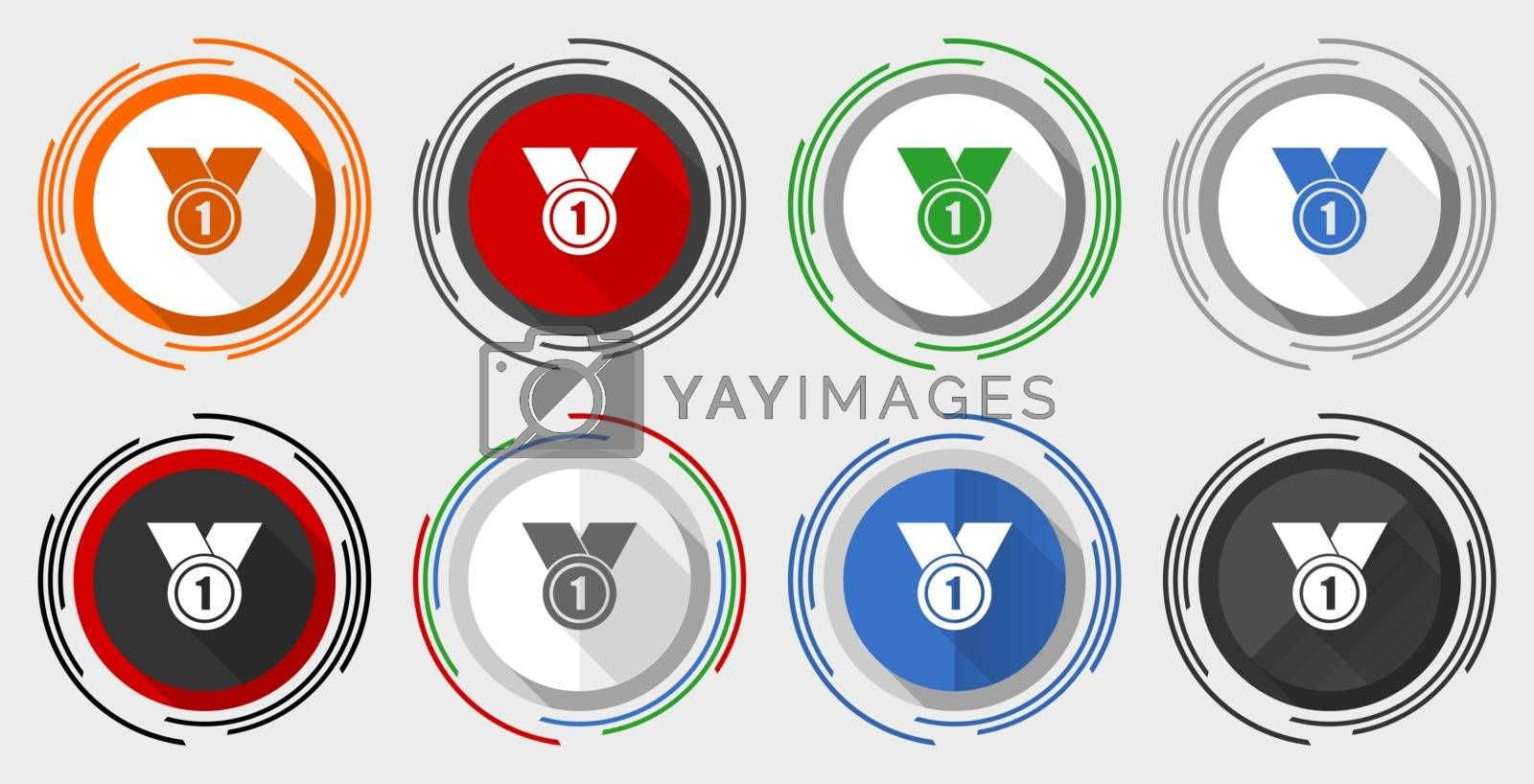 Badge vector icon set, first, number one modern design flat graphic in 8 options for web design and mobile applications