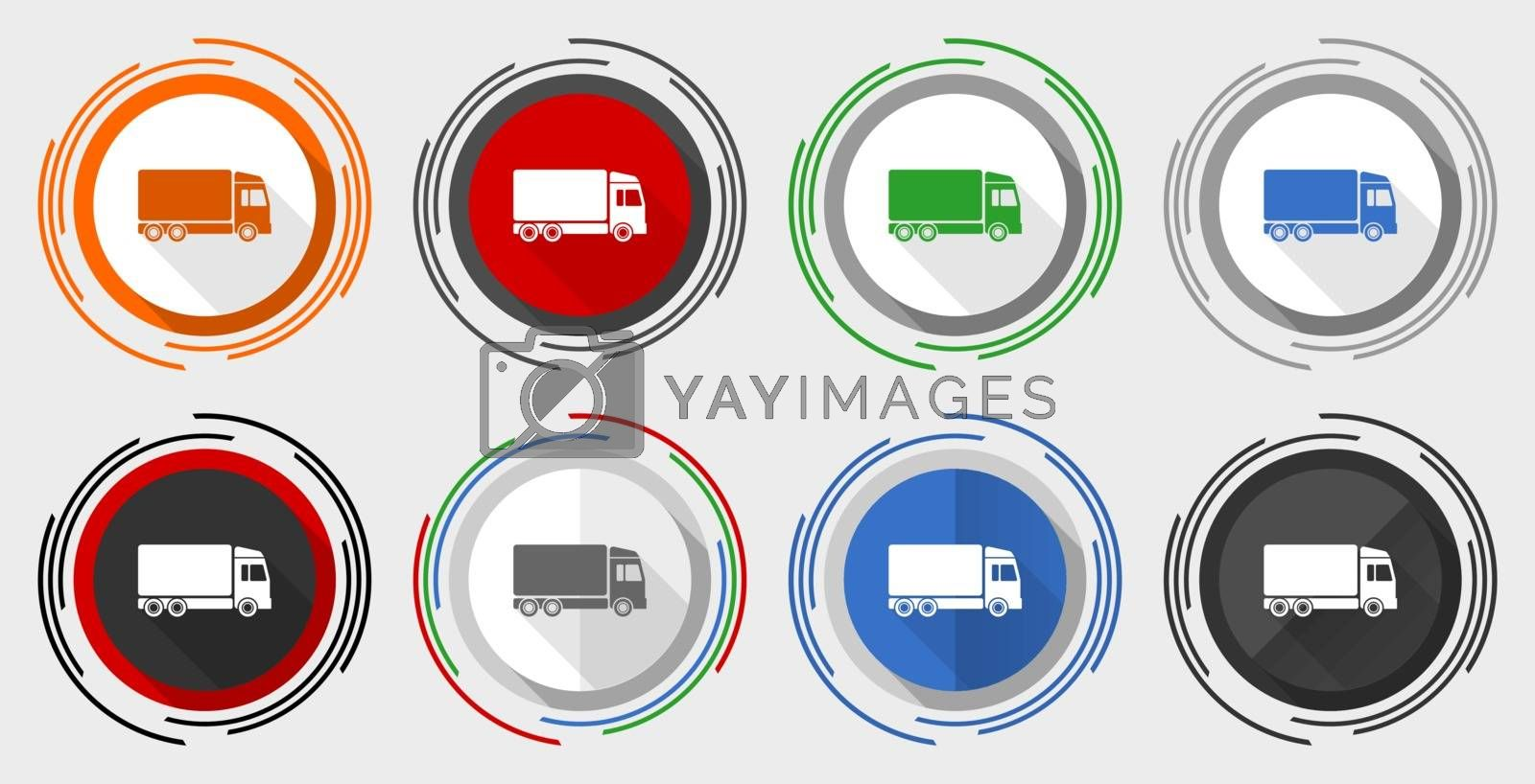 Royalty free image of Delivery vector icon set, modern design flat graphic in 8 options for web design and mobile applications by alexwhite