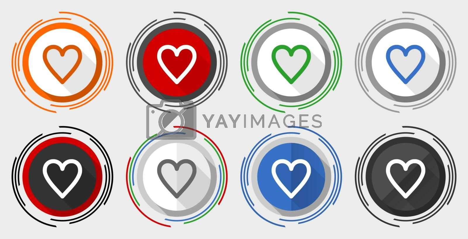 Royalty free image of Heart vector icon set, modern design flat graphic in 8 options for web design and mobile applications by alexwhite