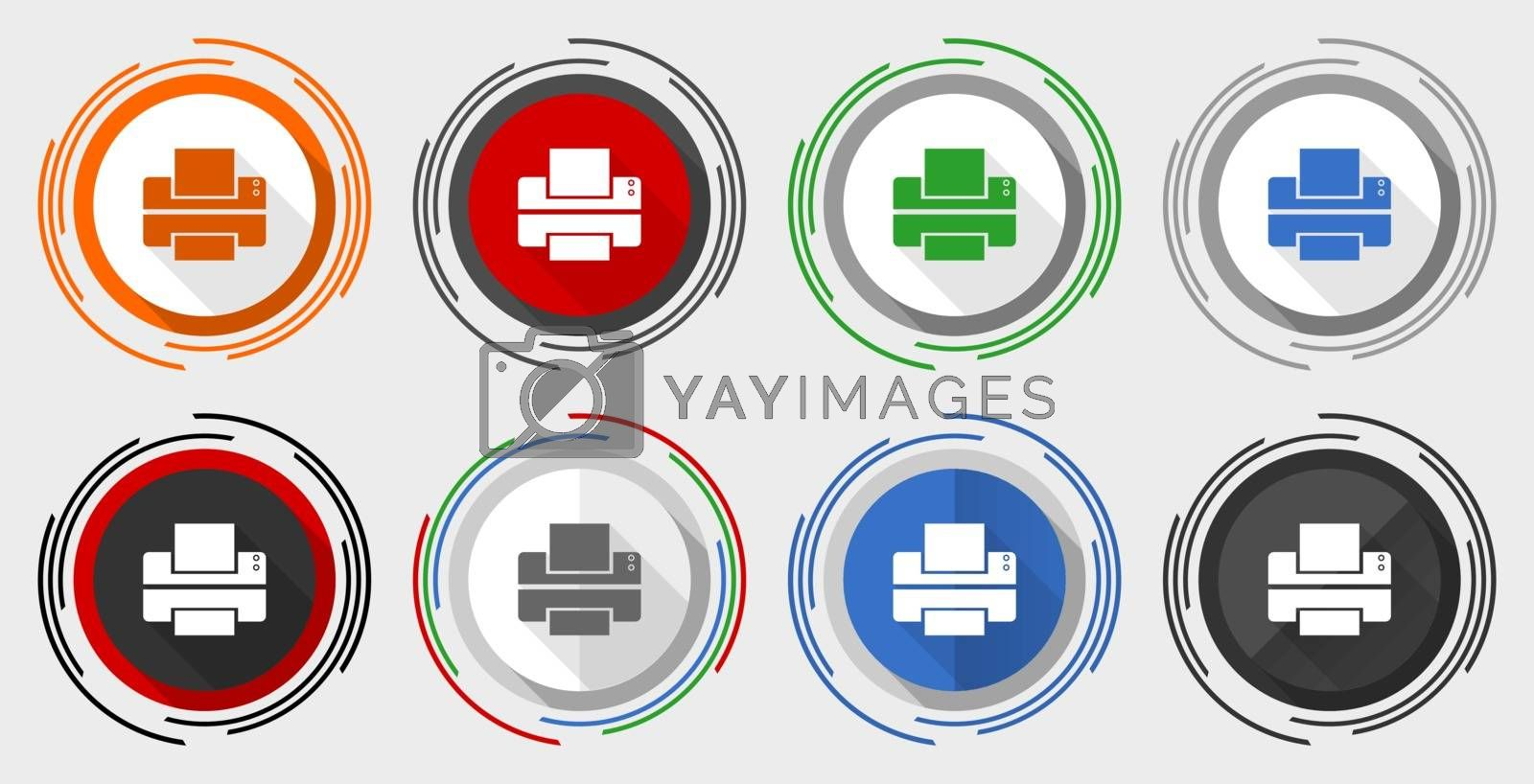 Printer vector icon set, print modern design flat graphic in 8 options for web design and mobile applications