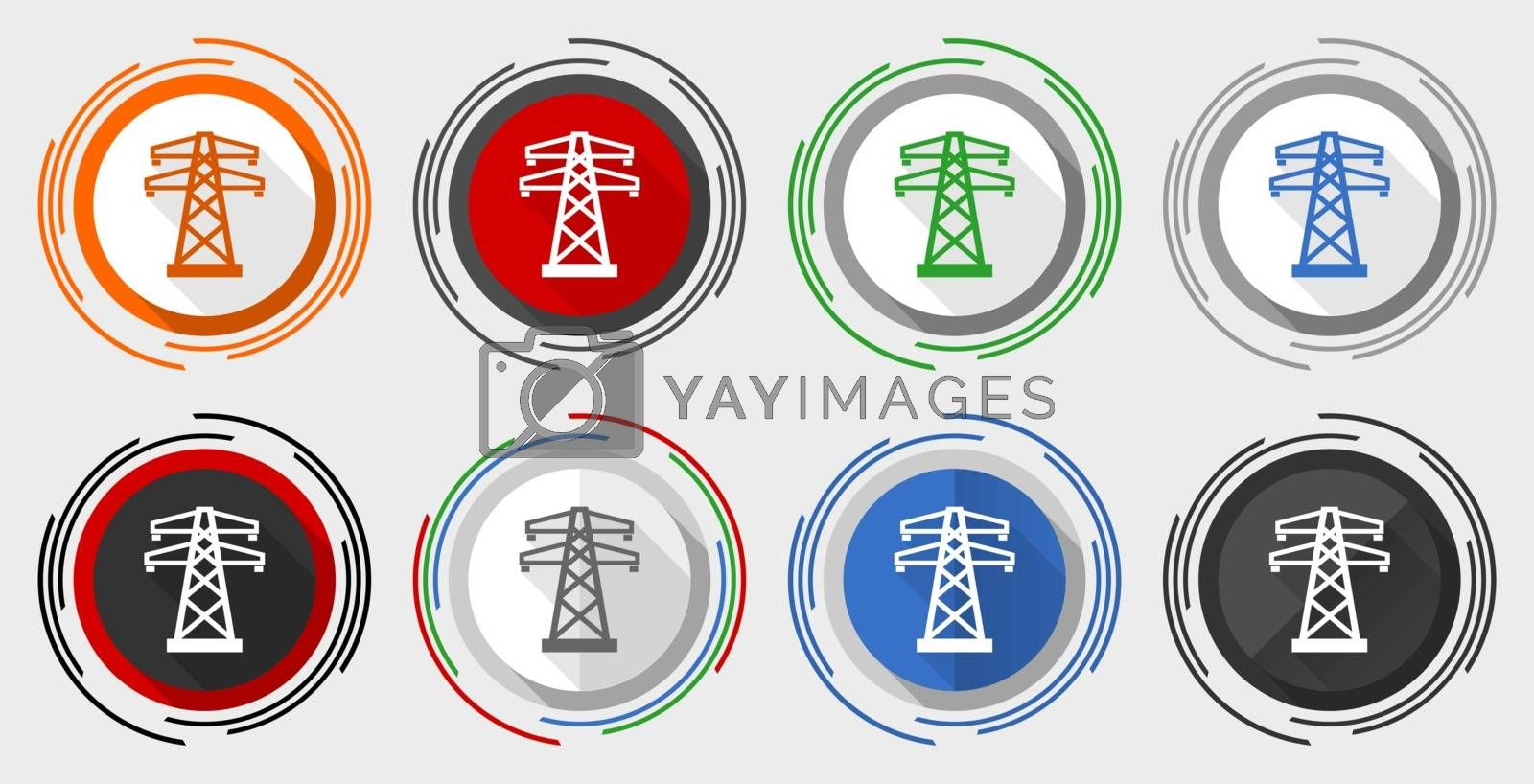 Royalty free image of Power, energy tower modern design flat graphic in 8 options for web design and mobile applications by alexwhite