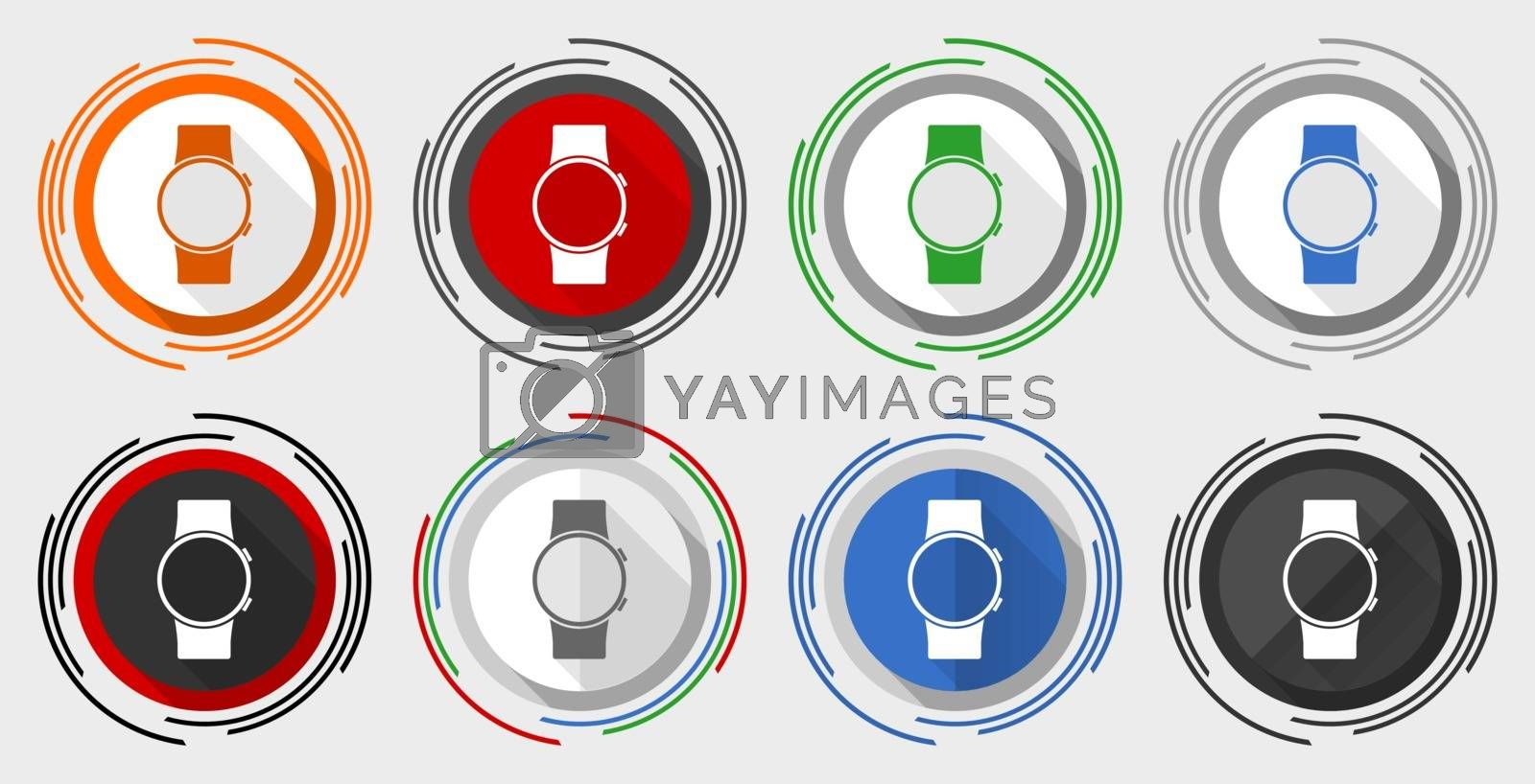 Smartwatch vector icon set, smart watch modern design flat graphic in 8 options for web design and mobile applications
