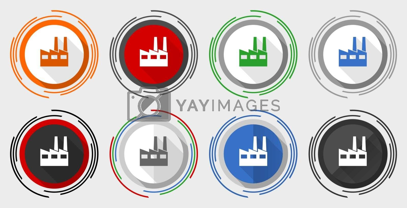 Royalty free image of Factory vector icon set, industrial building modern design flat graphic in 8 options for web design and mobile applications by alexwhite
