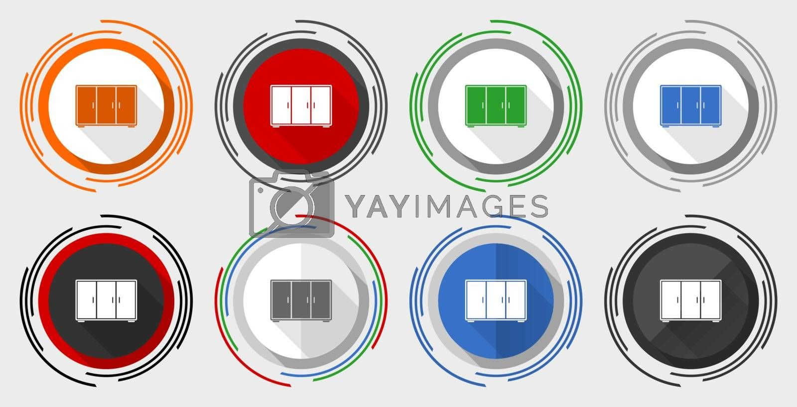 Royalty free image of Wardrobe vector icon set, room, design, interior, furniture modern design flat graphic in 8 options for web design and mobile applications by alexwhite