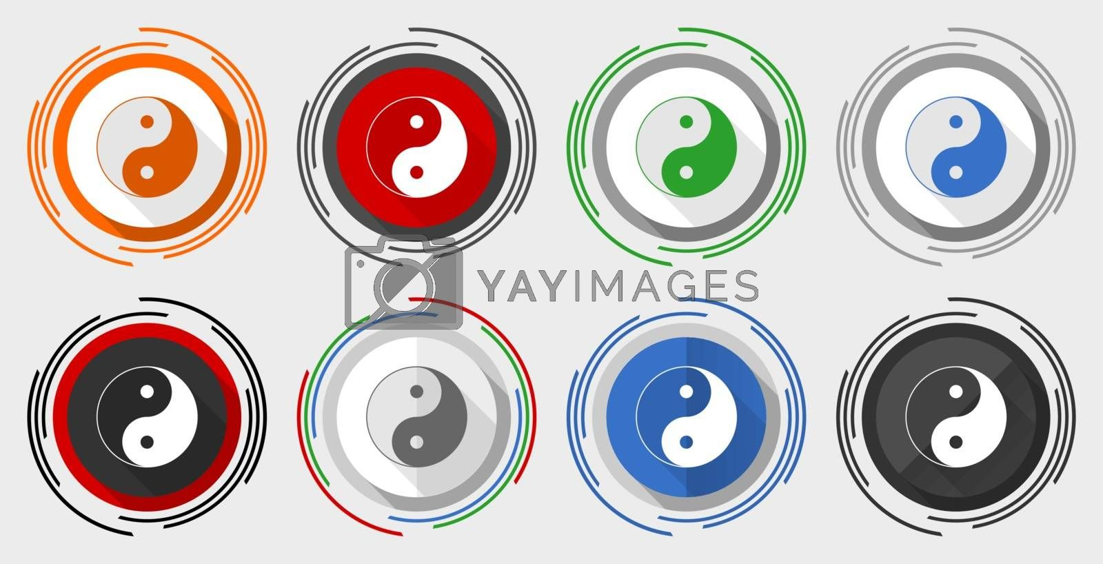 Ying yang vector icon set, modern design flat graphic in 8 options for web design and mobile applications