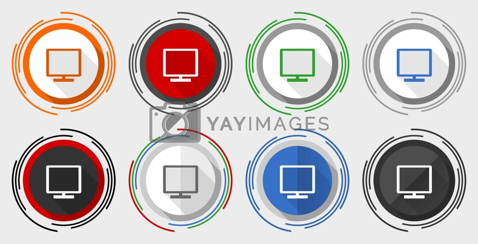 Tv vector icon set, television modern design flat graphic in 8 options for web design and mobile applications