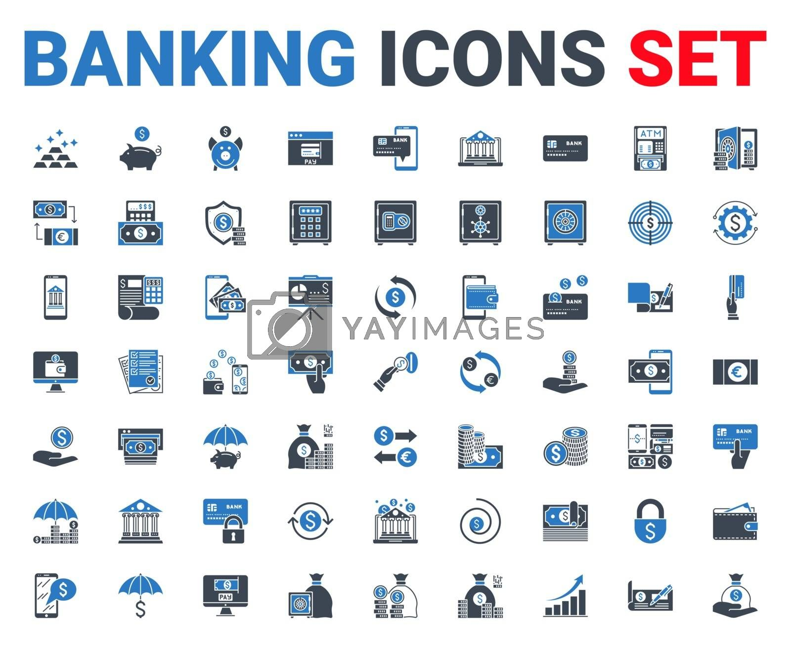 Set banking icons glyph. Black and blue color. Icons for mobile concepts and web apps. Collection modern infographic logo and pictogram. Isolated on white background. Vector illustration.