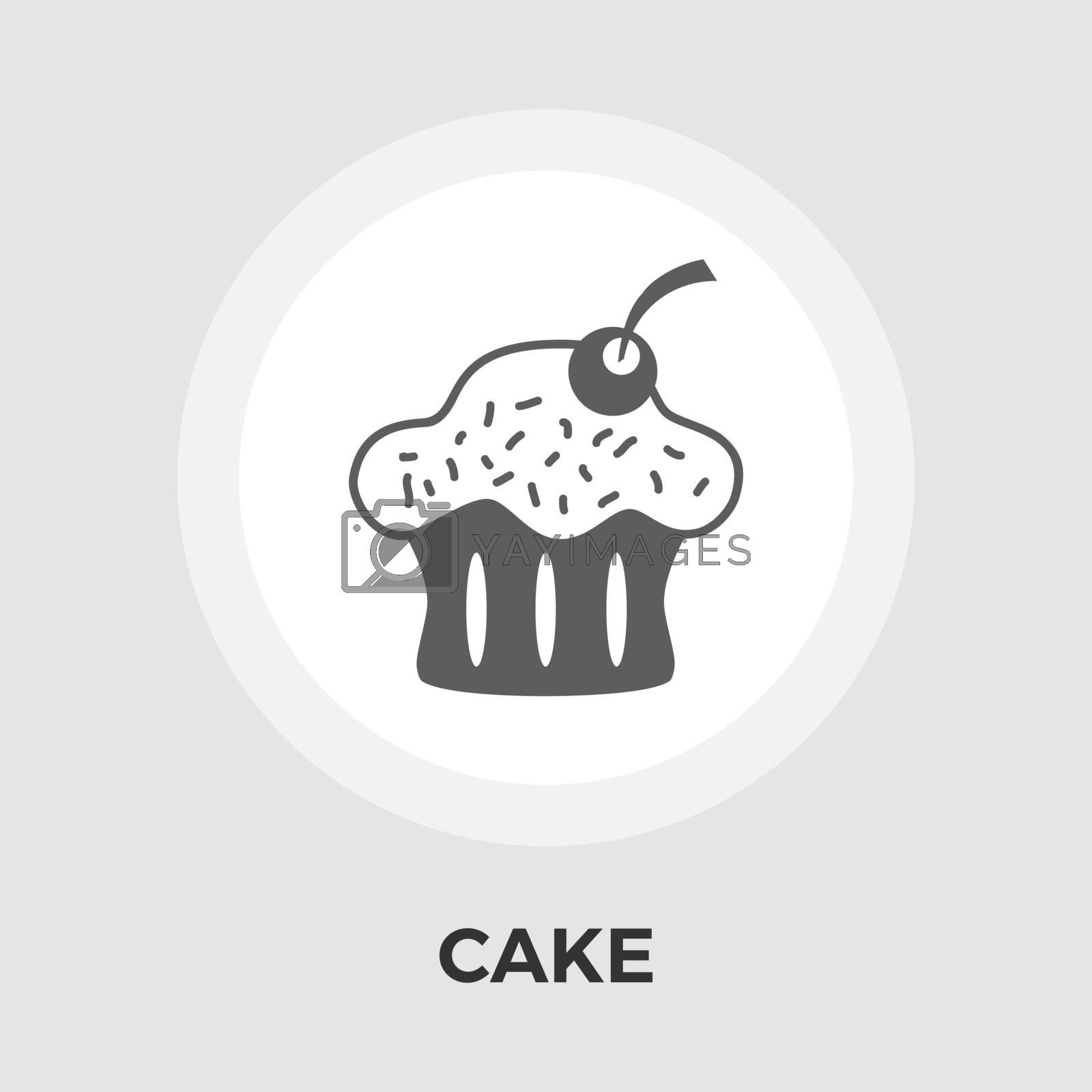 Cake icon vector. Flat icon isolated on the white background. Editable EPS file. Vector illustration.