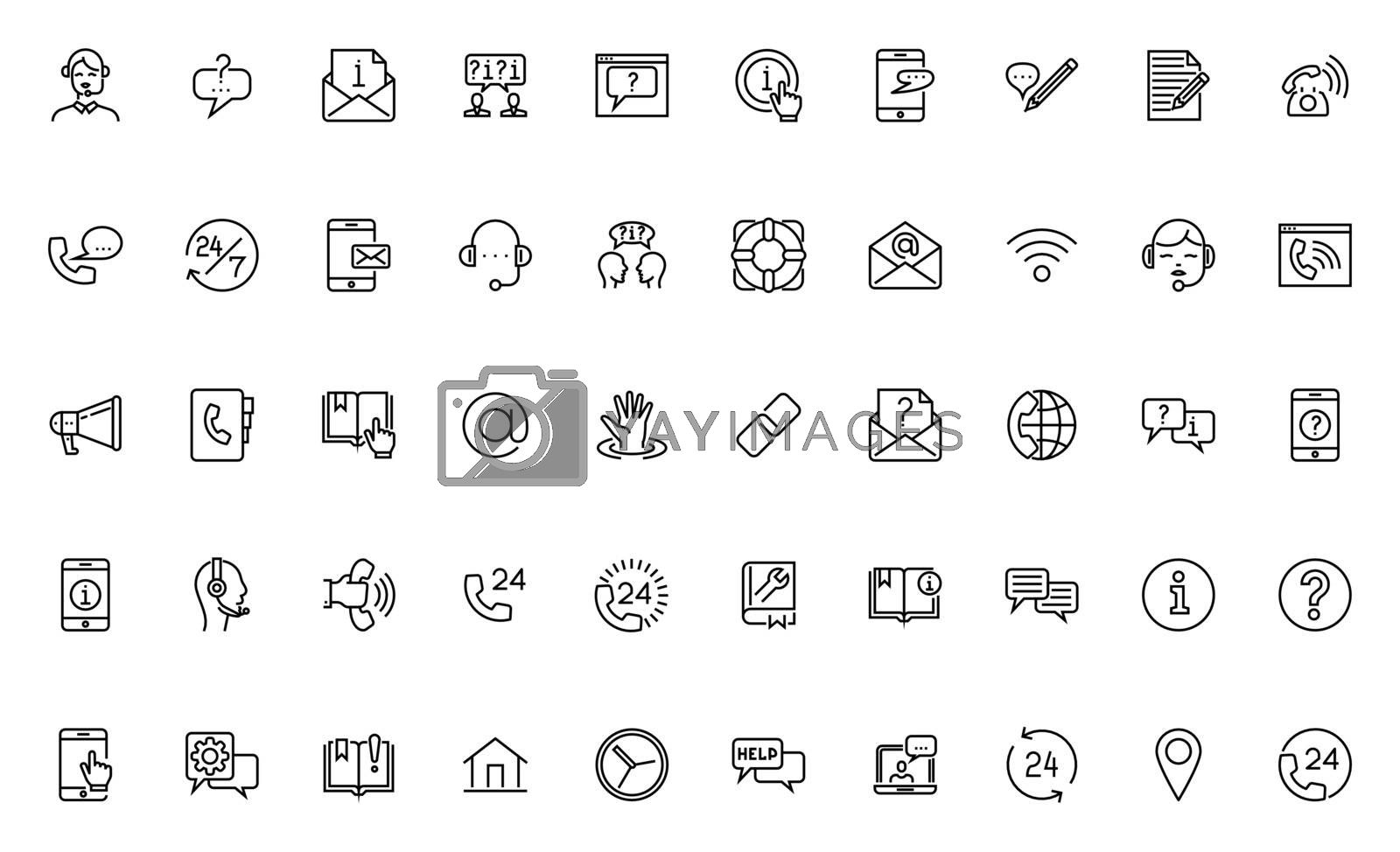 Simple Set of Help, Support and Contact Us Related Vector Line Icons. Contains such Icons as Phone Assistant, Online Help, Support Service, Video Chat. Editable Stroke. 64x64 Pixel Perfect.