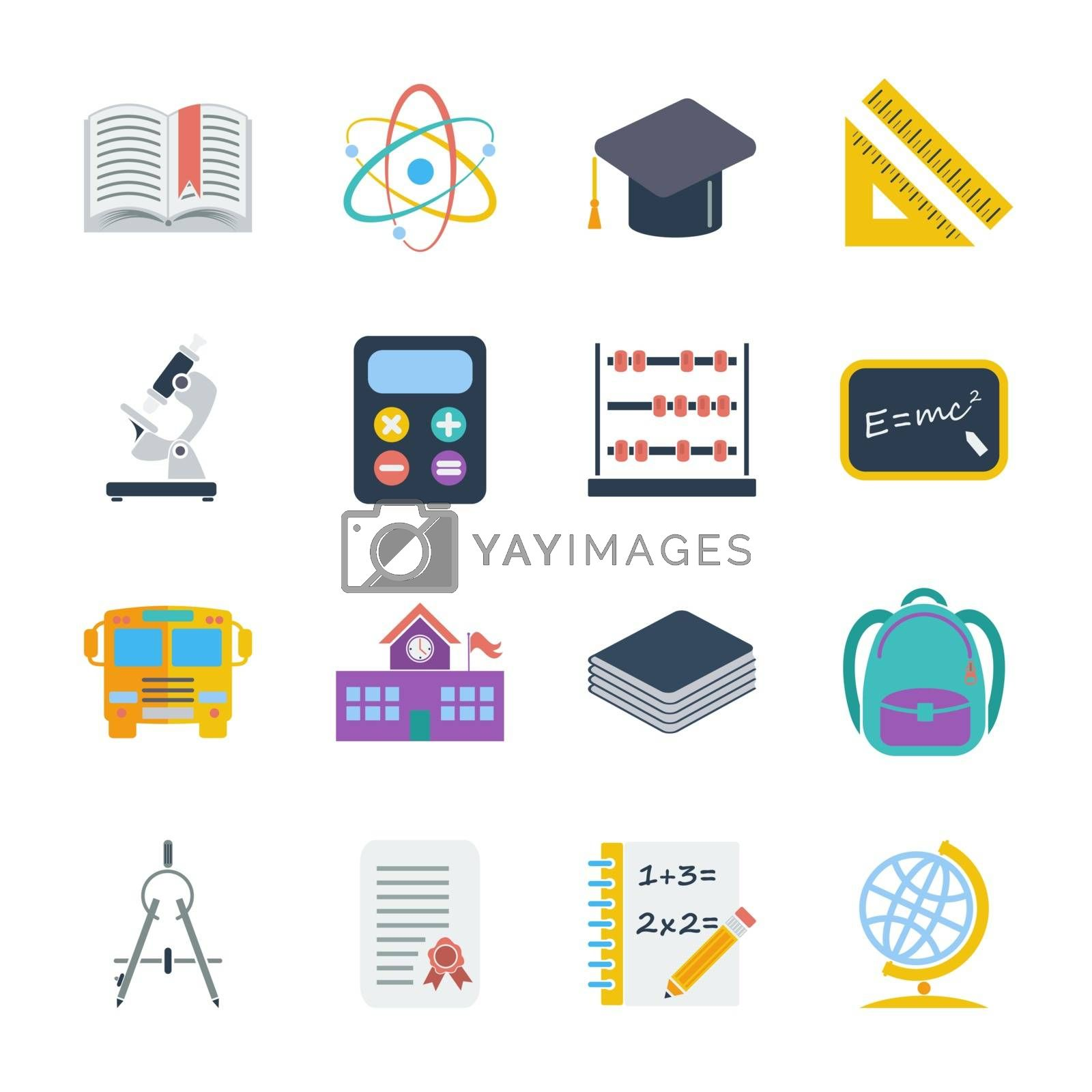 Education icons set. Flat vector related icons set for web and mobile applications. It can be used as - logo, pictogram, icon, infographic element. Vector Illustration.