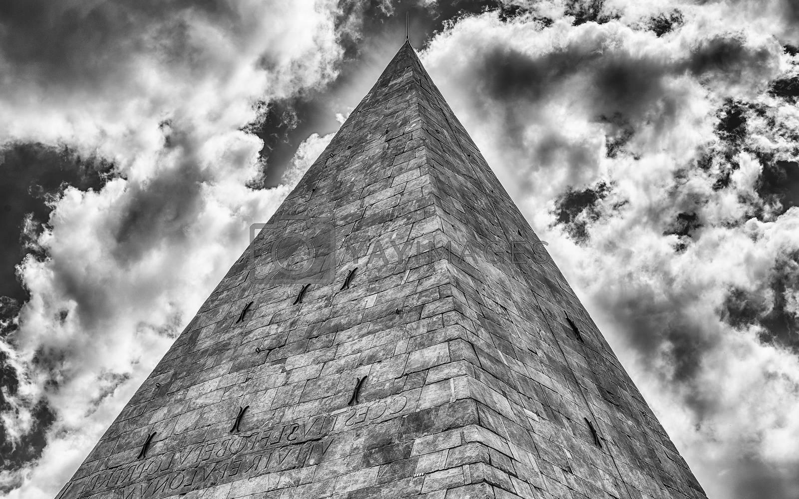 Scenic view of the Pyramid of Cestius, iconic landmark in Testaccio district in Rome, Italy