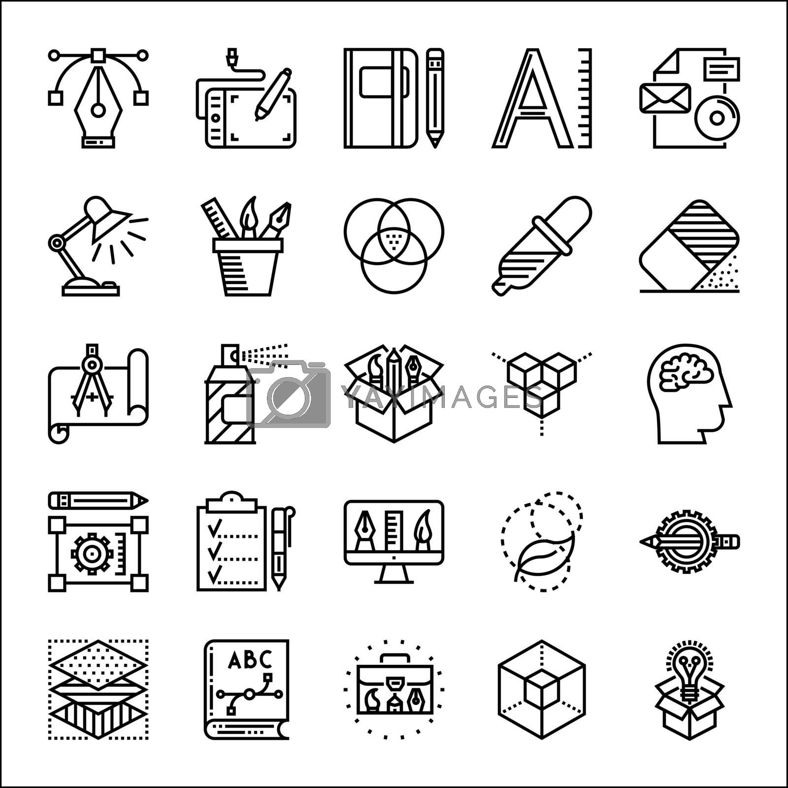 Graphic design thin line icons set, vector illustration
