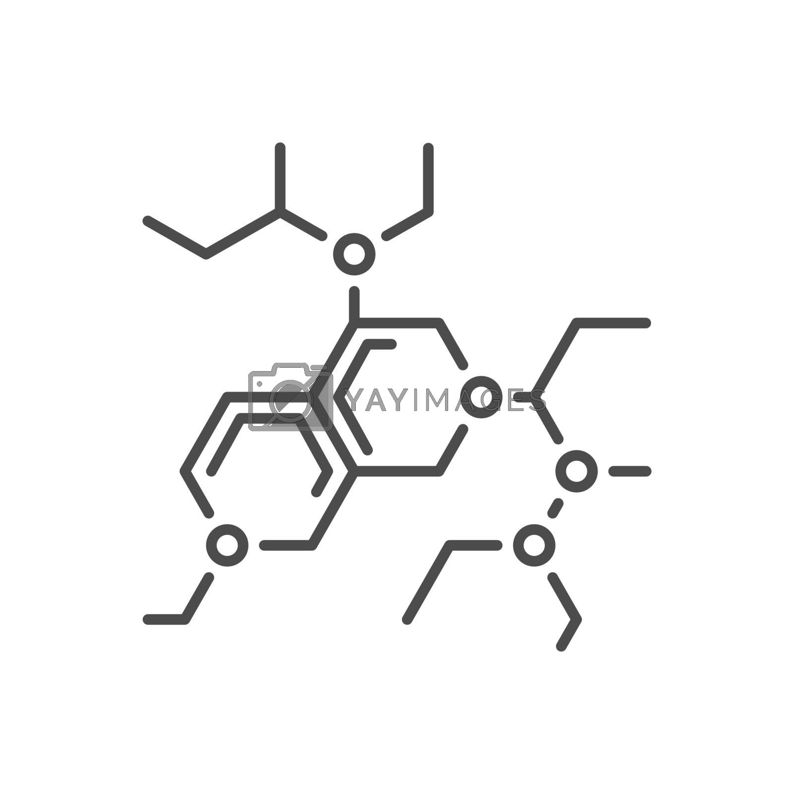 Molecule related vector thin line icon. Isolated on white background. Editable stroke. Vector illustration.
