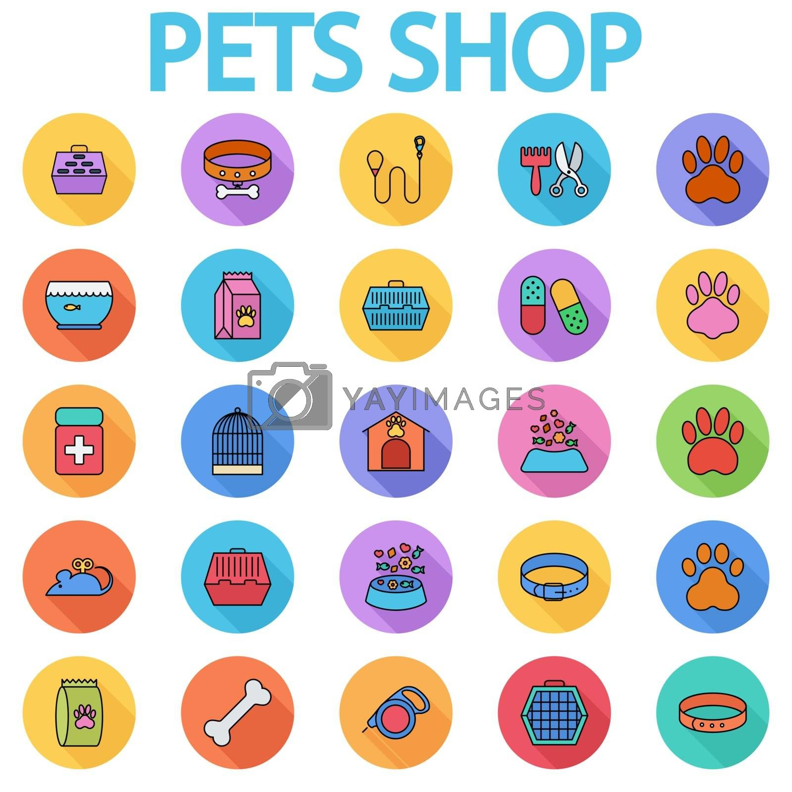Pets shop icons set. Flat vector related icon set with long shadow for web and mobile applications. It can be used as - logo, pictogram, icon, infographic element. Vector Illustration.