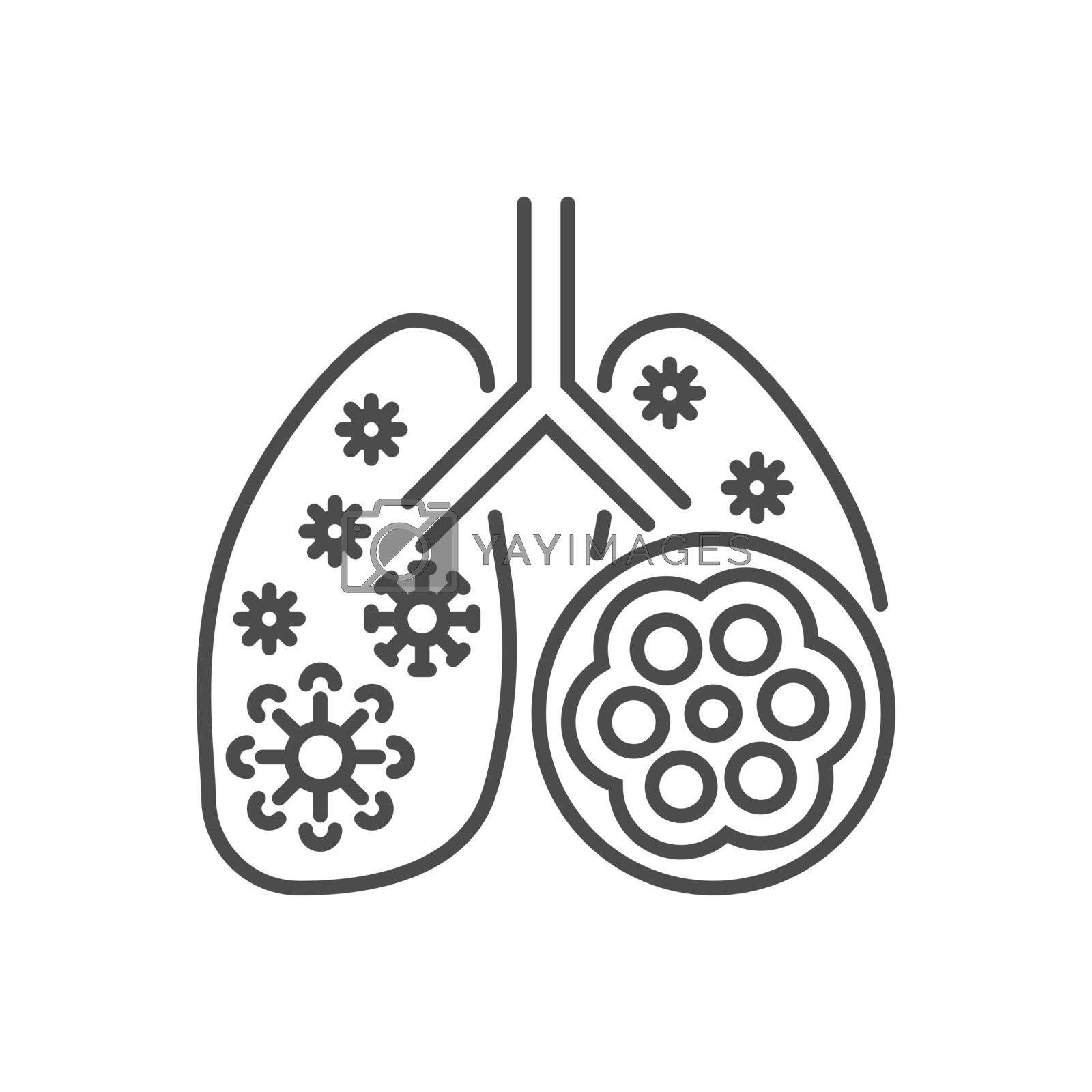 Pneumonia related vector thin line icon. Lungs with alveoli and coronavirus. Isolated on white background. Editable stroke. Vector illustration.