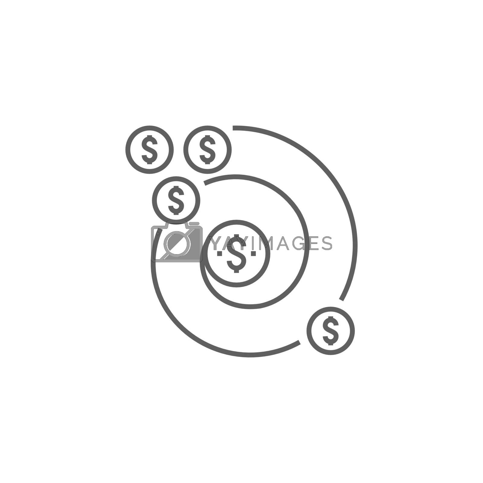Return on Investment Related Vector Thin Line Icon. Isolated on White Background. Editable Stroke. Vector Illustration.