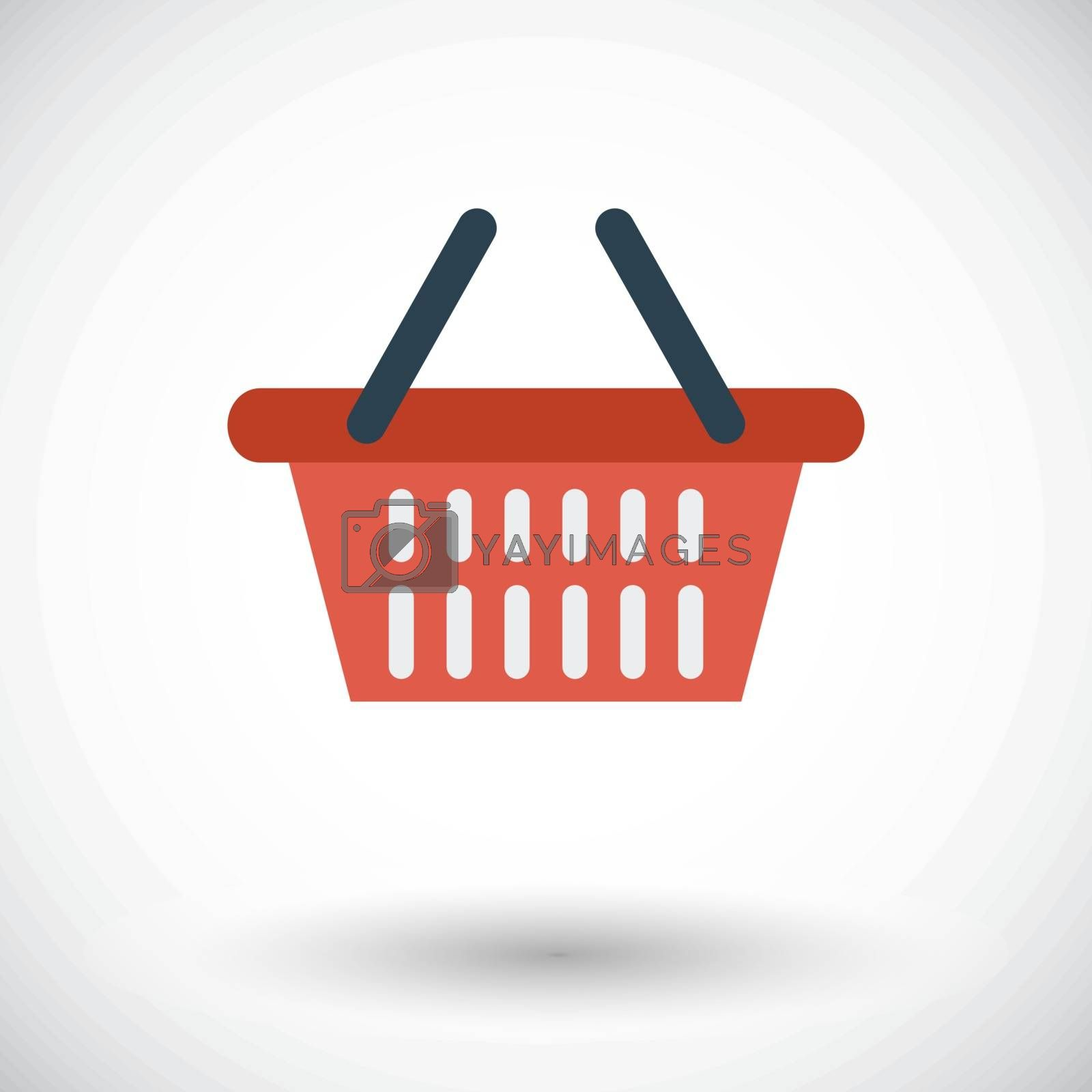 Shopping basket. Single flat icon on white background. Vector illustration.