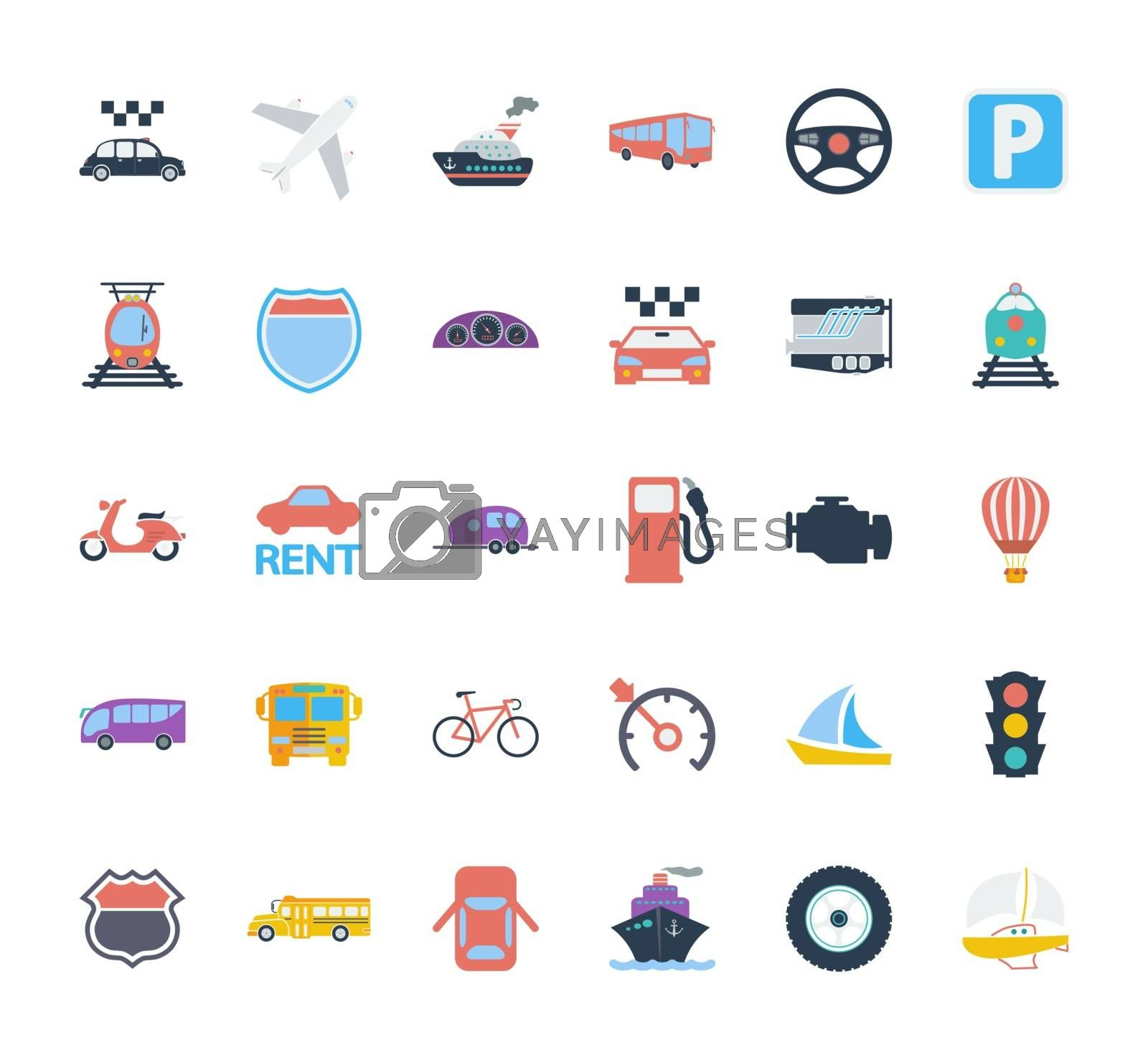 Transportation icons set. Flat vector related icons set for web and mobile applications. It can be used as - logo, pictogram, icon, infographic element. Vector Illustration.