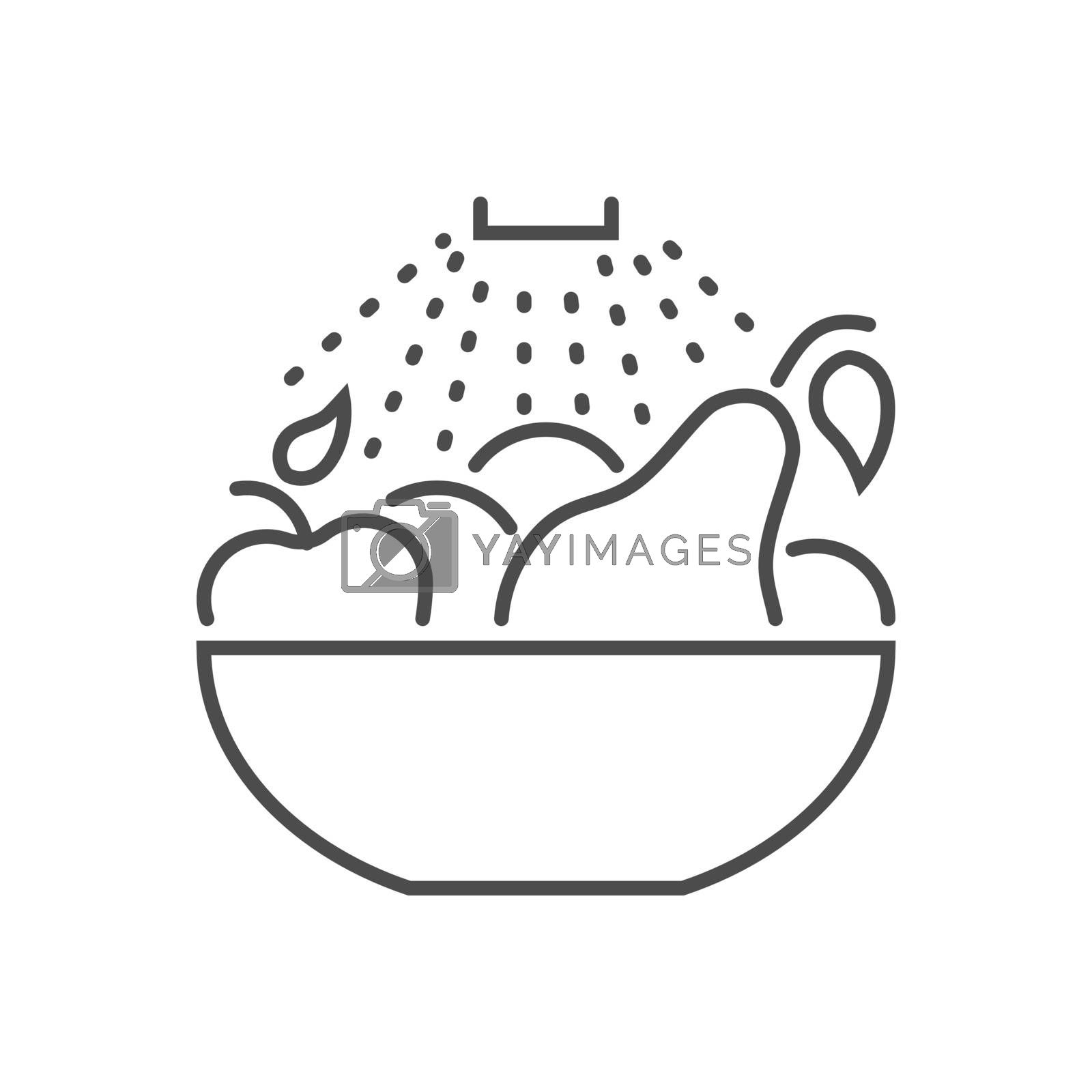 Wash fruits related vector thin line icon. Water is pouring on a bowl of fruit. Isolated on white background. Editable stroke. Vector illustration.