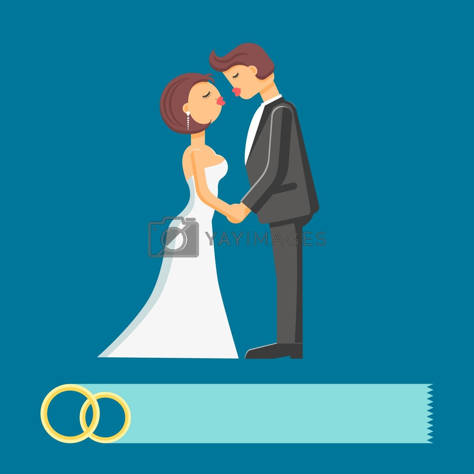 Wedding couple vector flat illustration by smoki