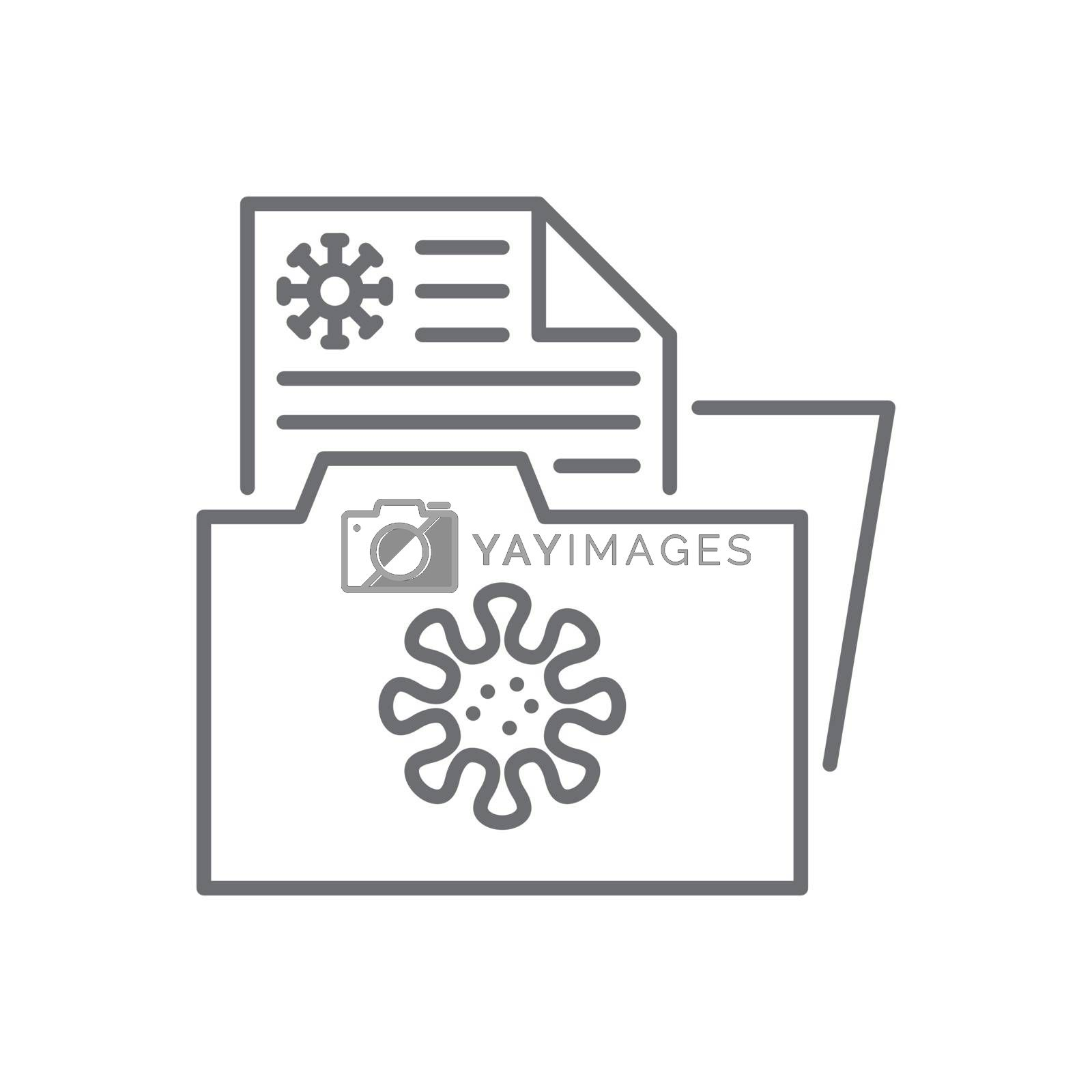 Virus information related vector thin line icon. Documents Folder with Virus Information. Isolated on white background. Editable stroke. Vector illustration.