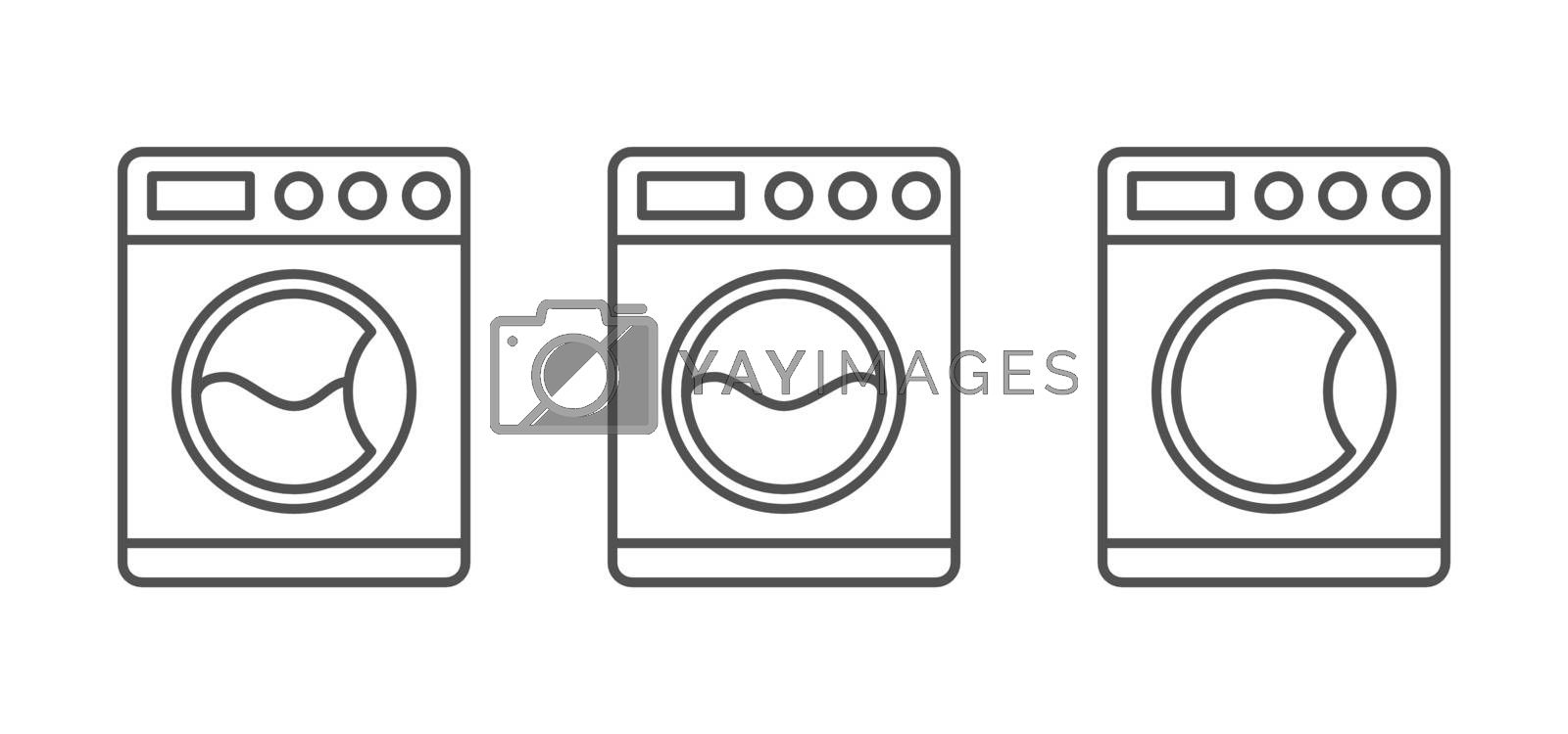Set of Washing Machine Vector icons. Isolated on White Background.