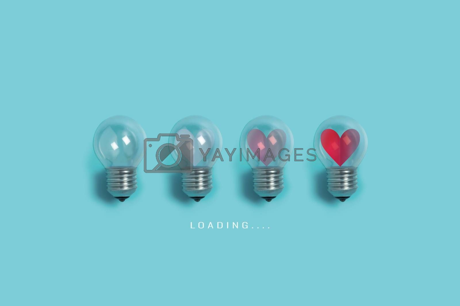 Red hearts in light bulbs. Loading progress bar on blue background. Valentine's day, Creative idea, Love, Inspiration Concepts.