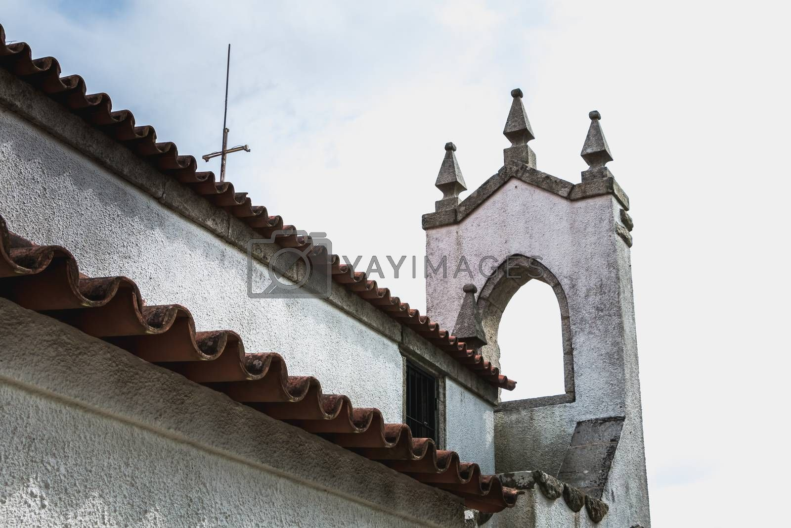 Architecture detail of the chapel of S. Lourenco near Esposende, Portugal on a spring day