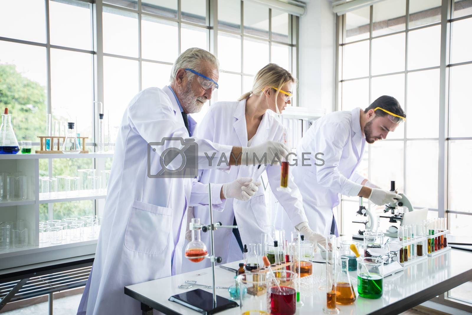 Medical Research and Scientists are working with a microscope and a tablet and Test Tubes, Micropipette and Analysis Results in a laboratory.