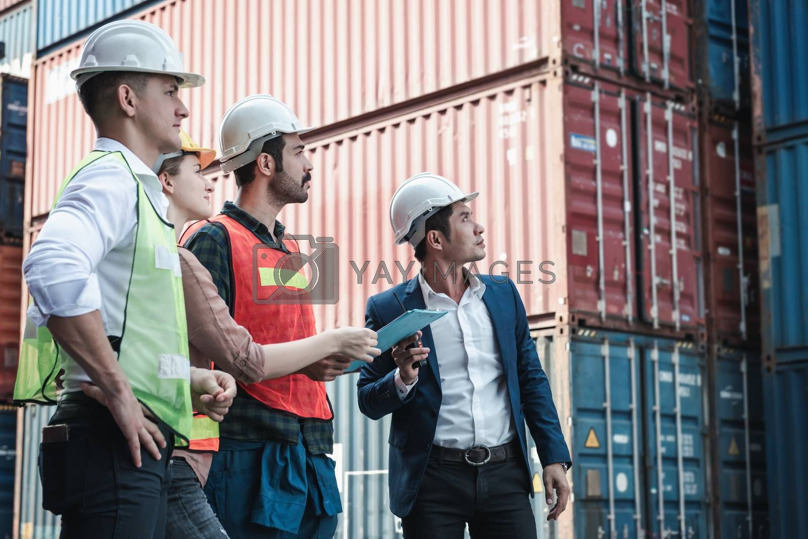 Container Logistics Shipping Storage Management Industry Team, Manager is Briefing Work to Teamwork for Containers Transportation and Factory Storage in Dock Ship. Transport Industrial and Logistic